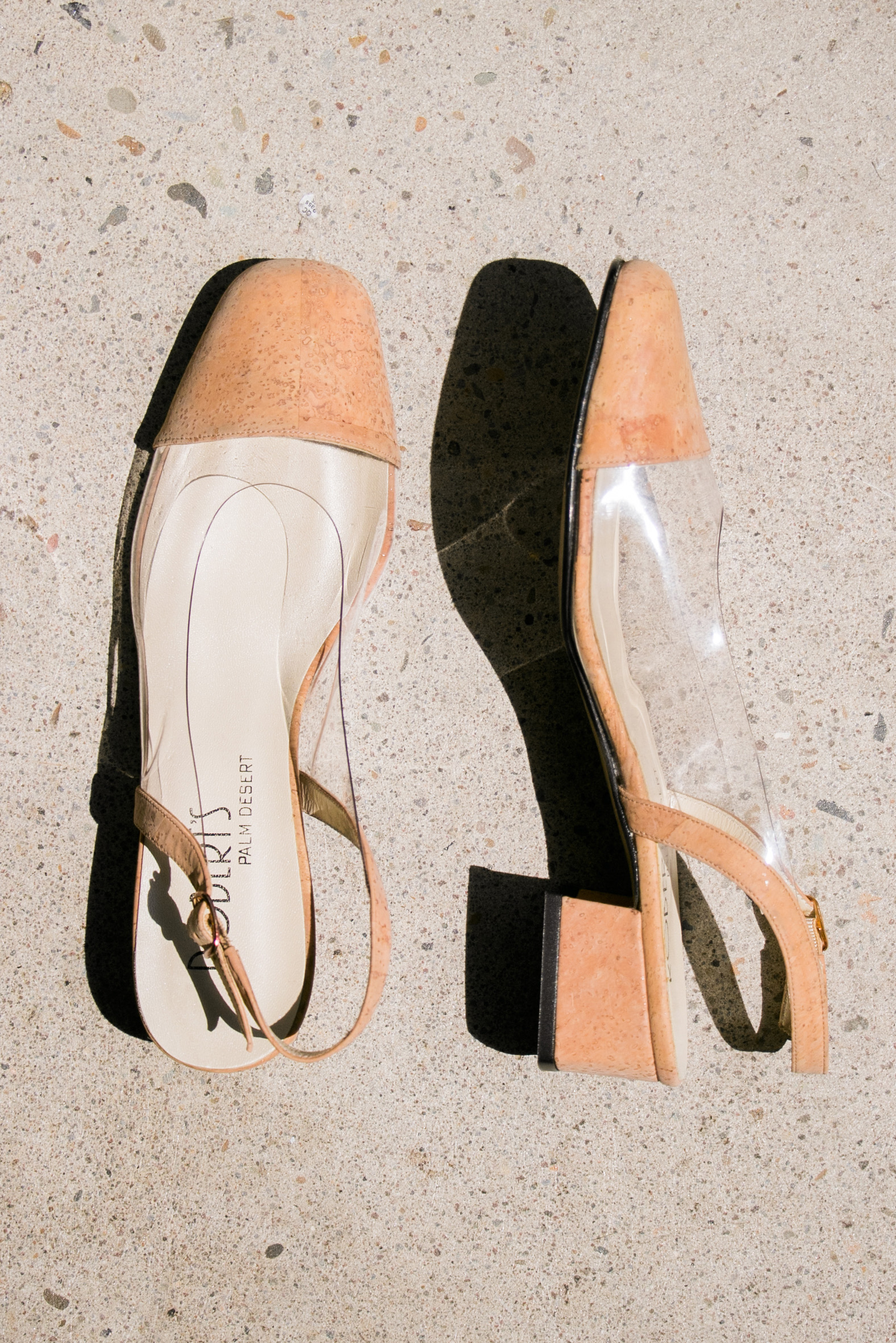 da6bd5143cf Vintage Clear Vinyl Cork Block Heels (8M)