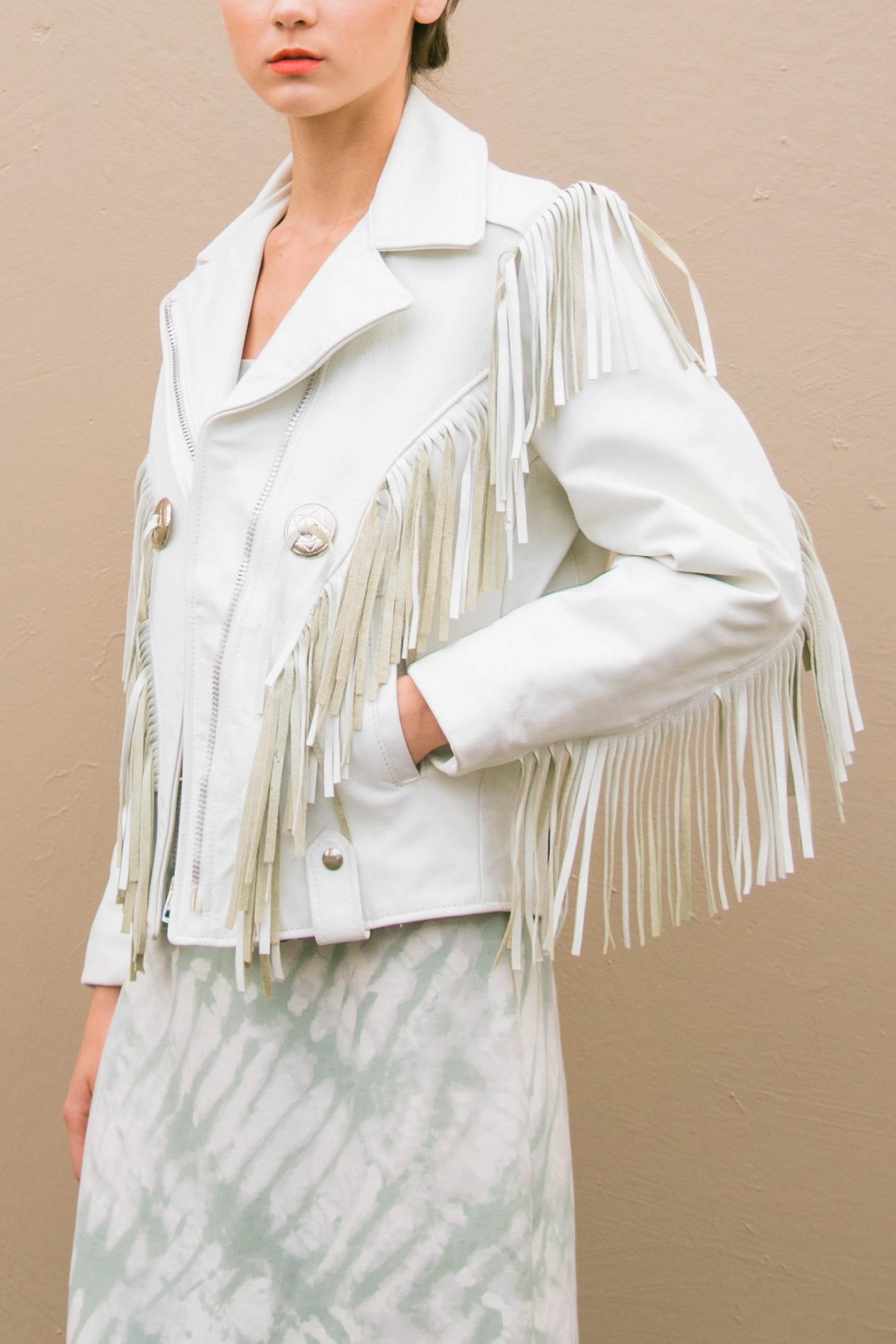 d7d829082 Vintage White Leather Fringe Jacket (S)