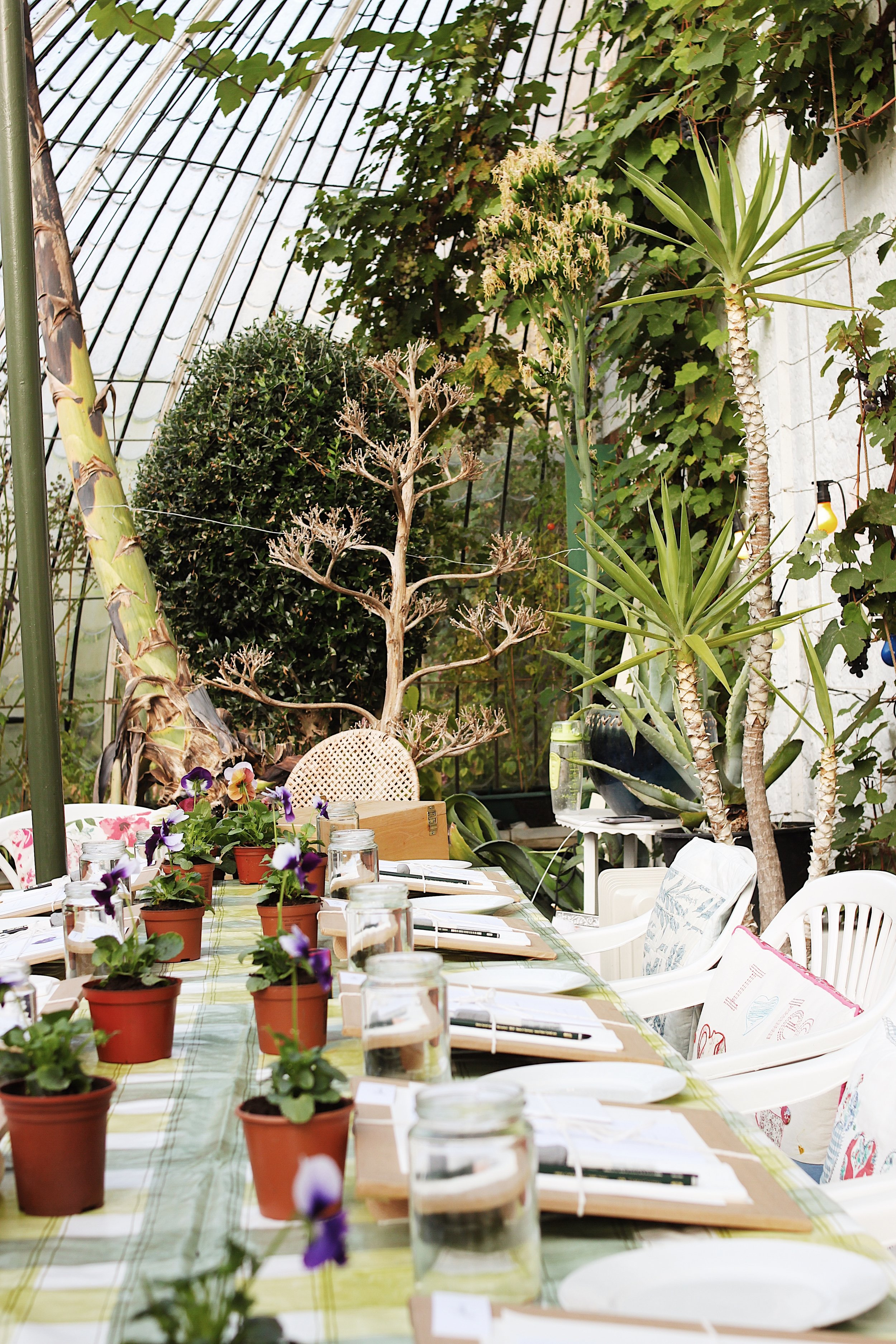 Our set up at the previous workshop at the Italianate Glasshouse. To read about this workshop, take a look  here!