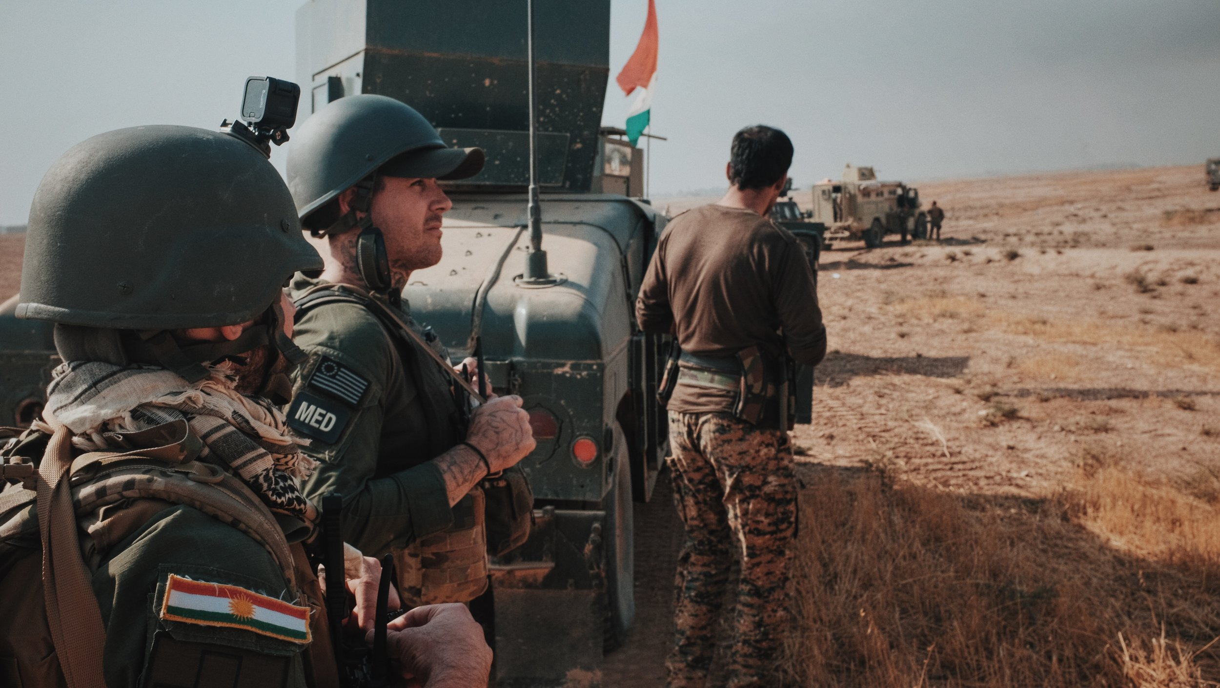 FAI Medics following a Peshmerga column into Bashiqa [Photo Cred FAI, Dalton Thomas]