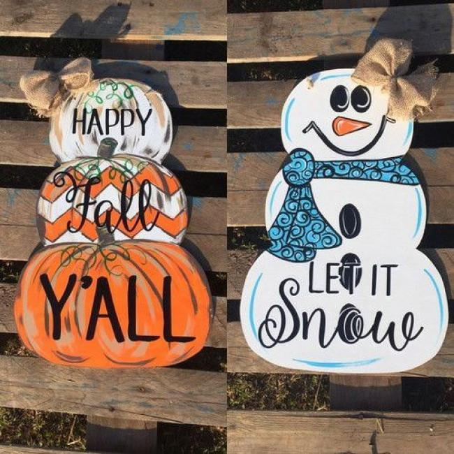 Reversible Pumpkin/Snowman   $45.00  We saw these and just knew we had to make them! This is going to be a longer class. Plan on 3 hours as it is reversible and it takes a bit for paint to dry.