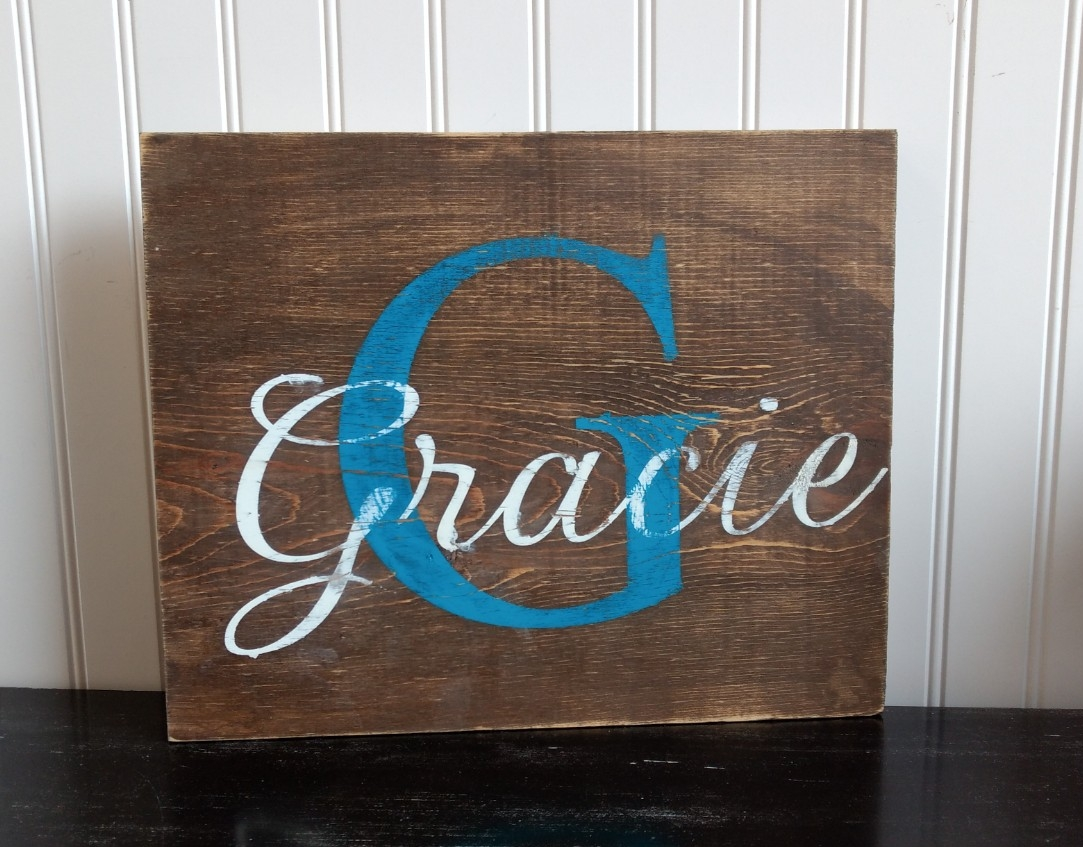 Small Monogram Name Sign