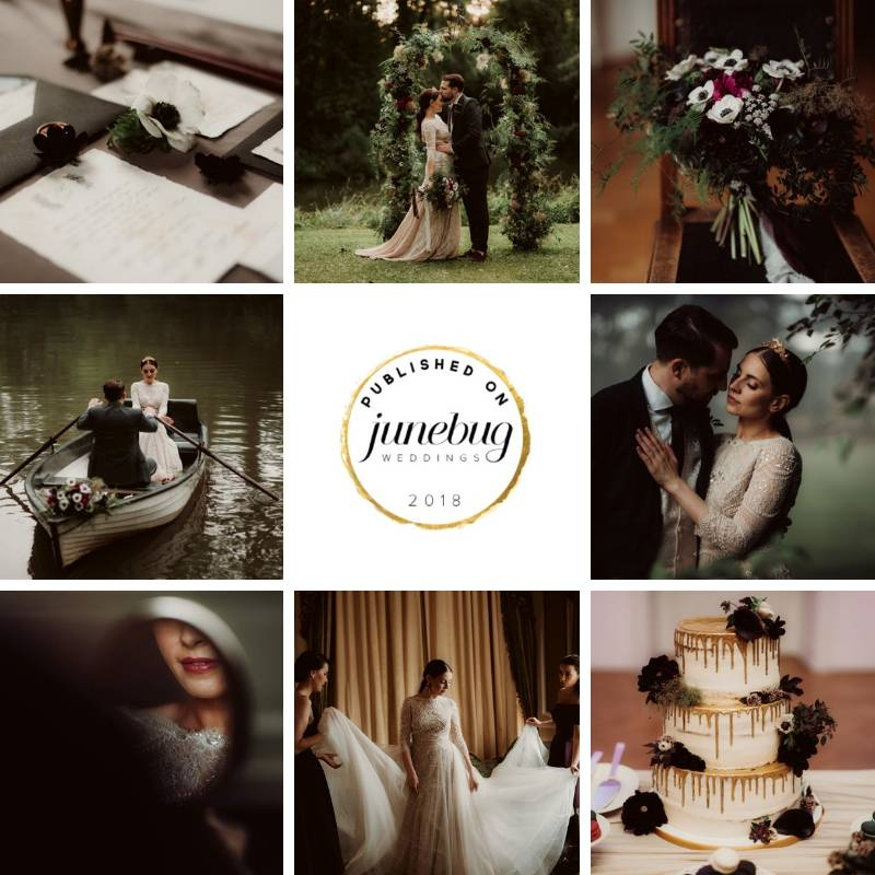 Garden wedding with dark burgundy calla lilies, peonies and white anemones, greenery and golden accents at castle Margarethen am Moos Austria
