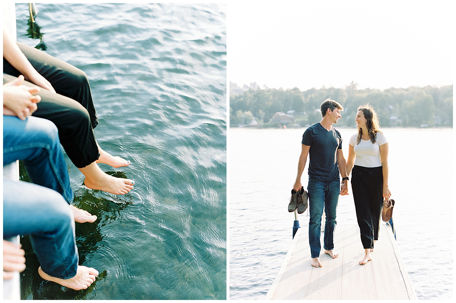summertime lake engagement session