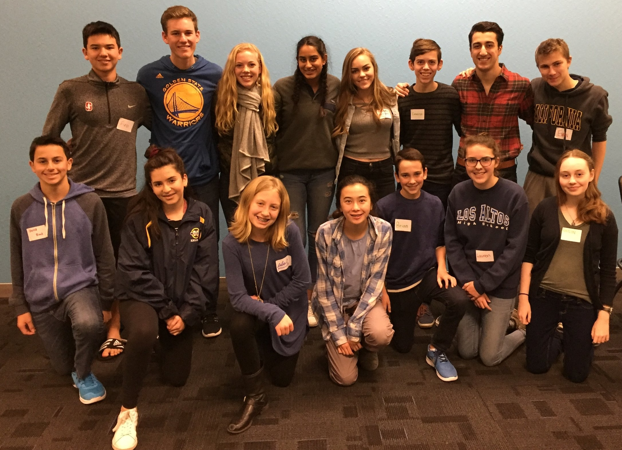 John, top row second from the left, with the members of the SV2 Teen Board.