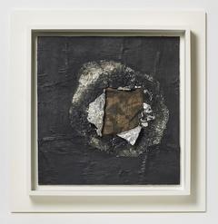 "Jack Whitten, Birmingham , 1964,  aluminum foil, newsprint, stocking, oil on plywood, 16 5/8 x 16""."
