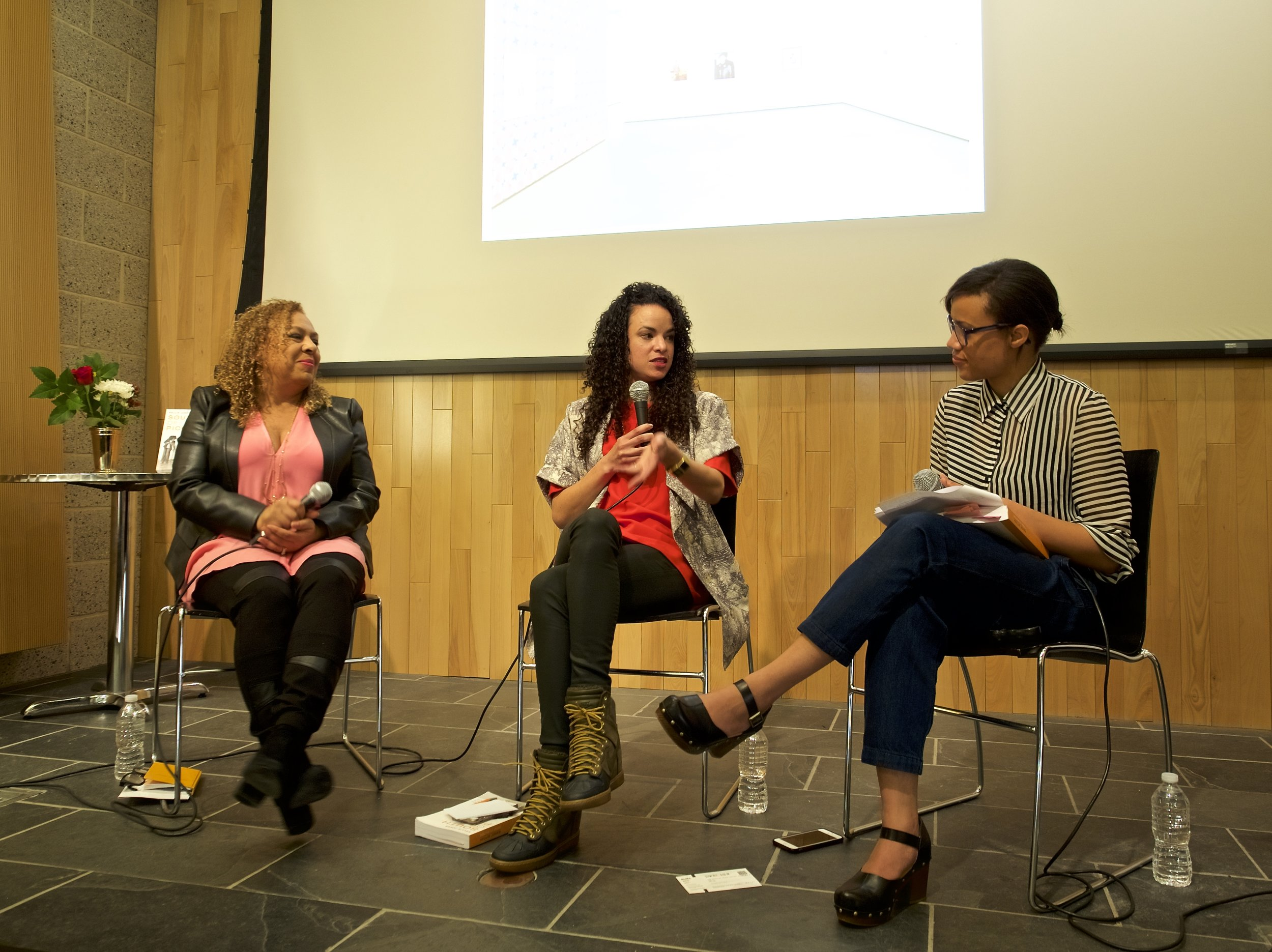 Dr. Jones and Sadie Barnette discuss art and activism in Los Angeles with Ashley James, MoMA Research Consortium Fellow in the department of Drawings and Prints.
