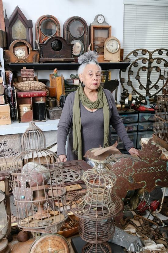 Betye Saar, pictured in her Los Angeles studio.  Credit: Ashley Walker, via Robert Projects, Los Angeles