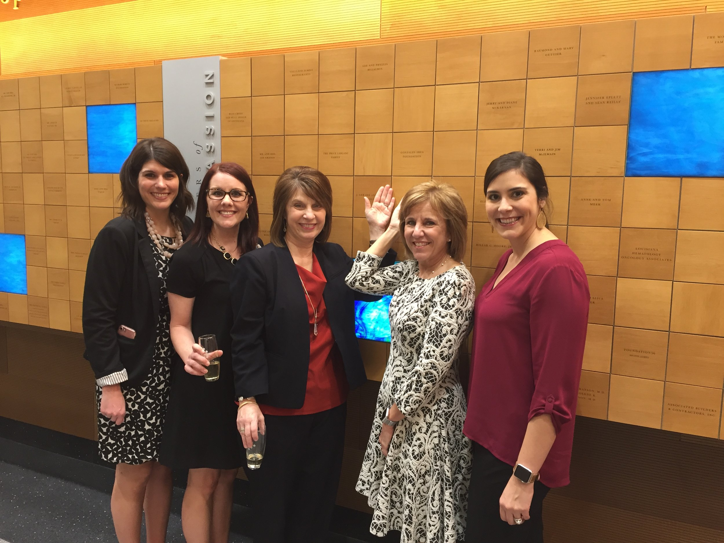 Mary Bird Perkins Cancer Center 2017 Cumulative Giving Wall Honoree presentation. The Gonzales Area Foundation now haw a tile on the cumulative giving wall located on the first floor of the Cancer Center.