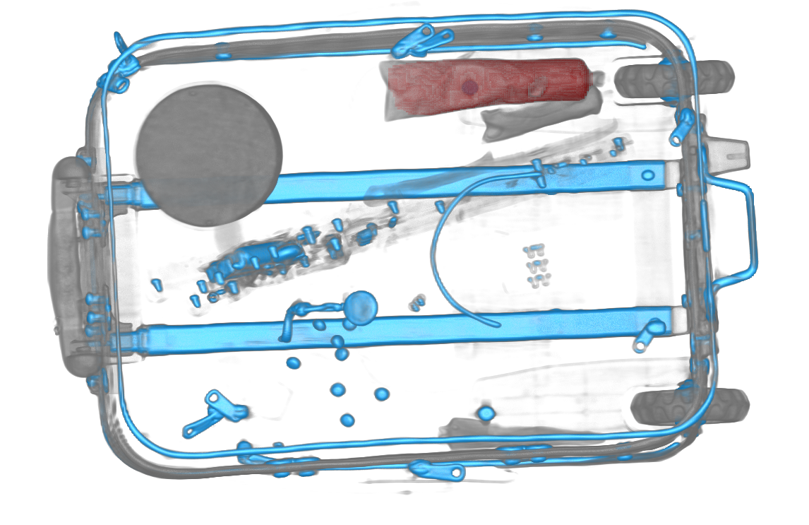 Airport security machine detection image showing detected threats in wheeled luggage