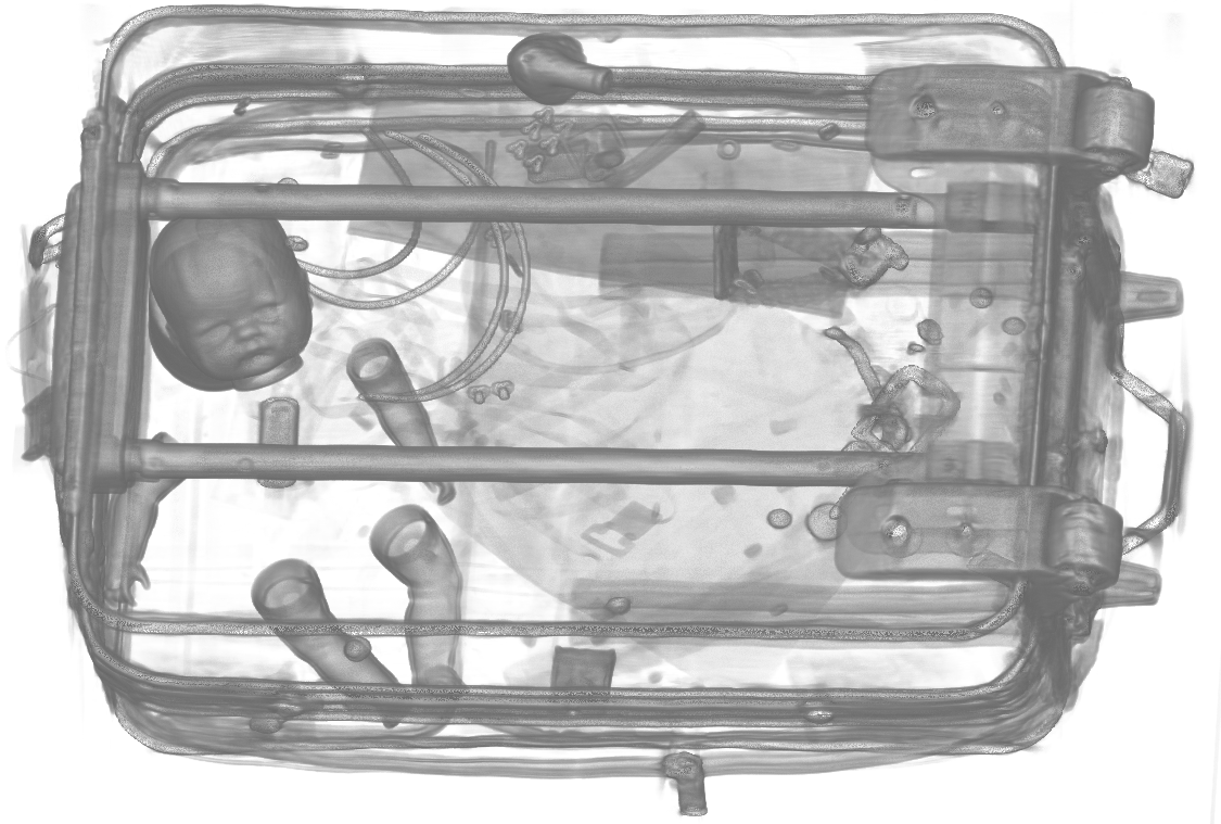 Scan showing the interior contents of luggage at security checkpoint