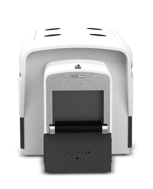 Front view of the DETECT 1000, a CT baggage scanner