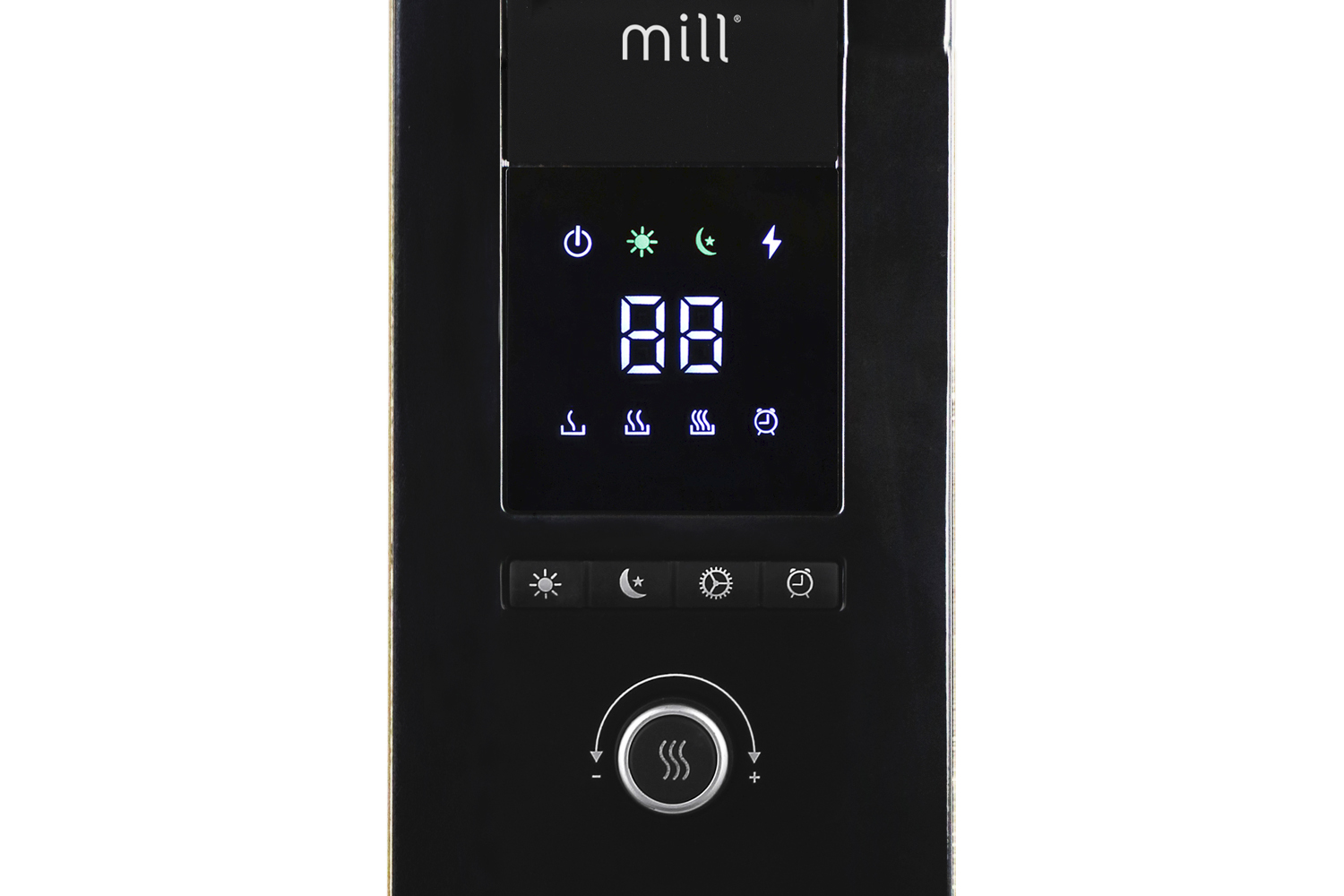 Mill AB-H1000 DN Glass oil heater controls zoomed in