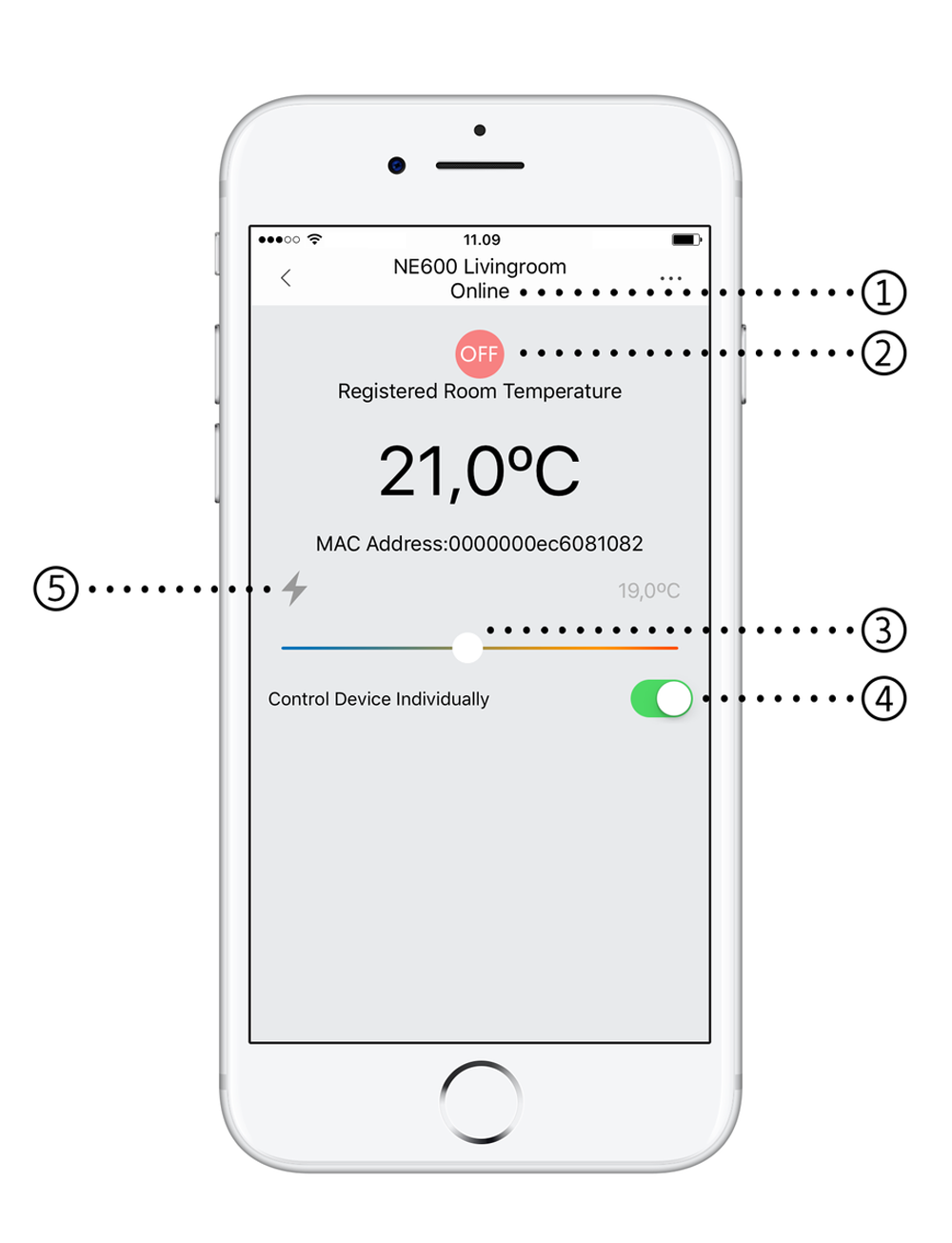 Mill app - temperature