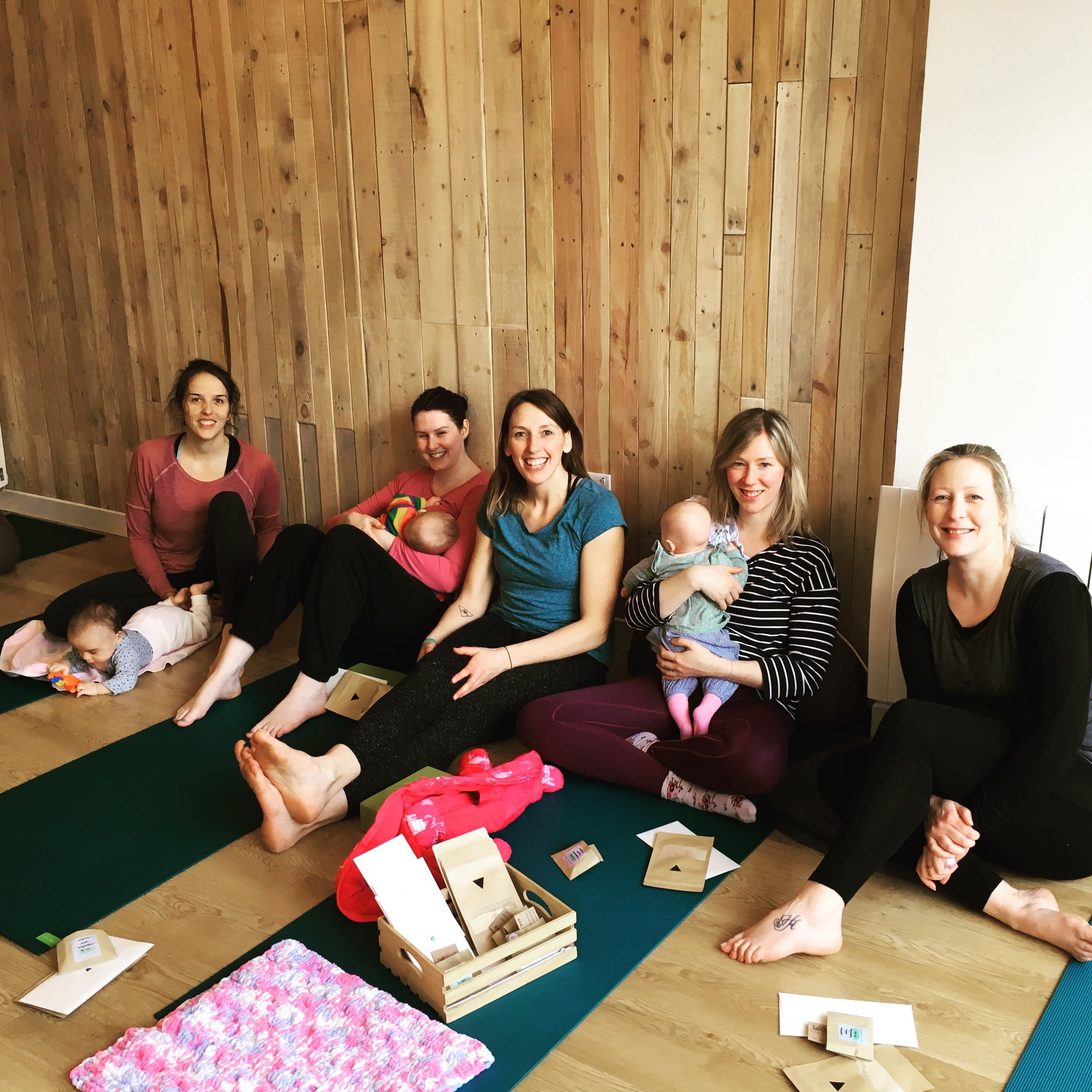 YesYoga Mum and Baby Class - Enjoying some post class chats with tea, chocolate and some self care treats.