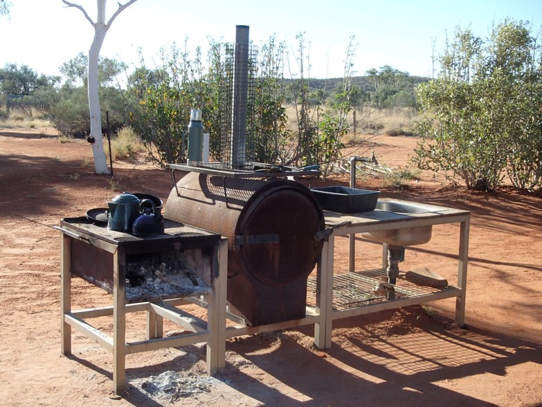 BBQ, bush oven and sink.