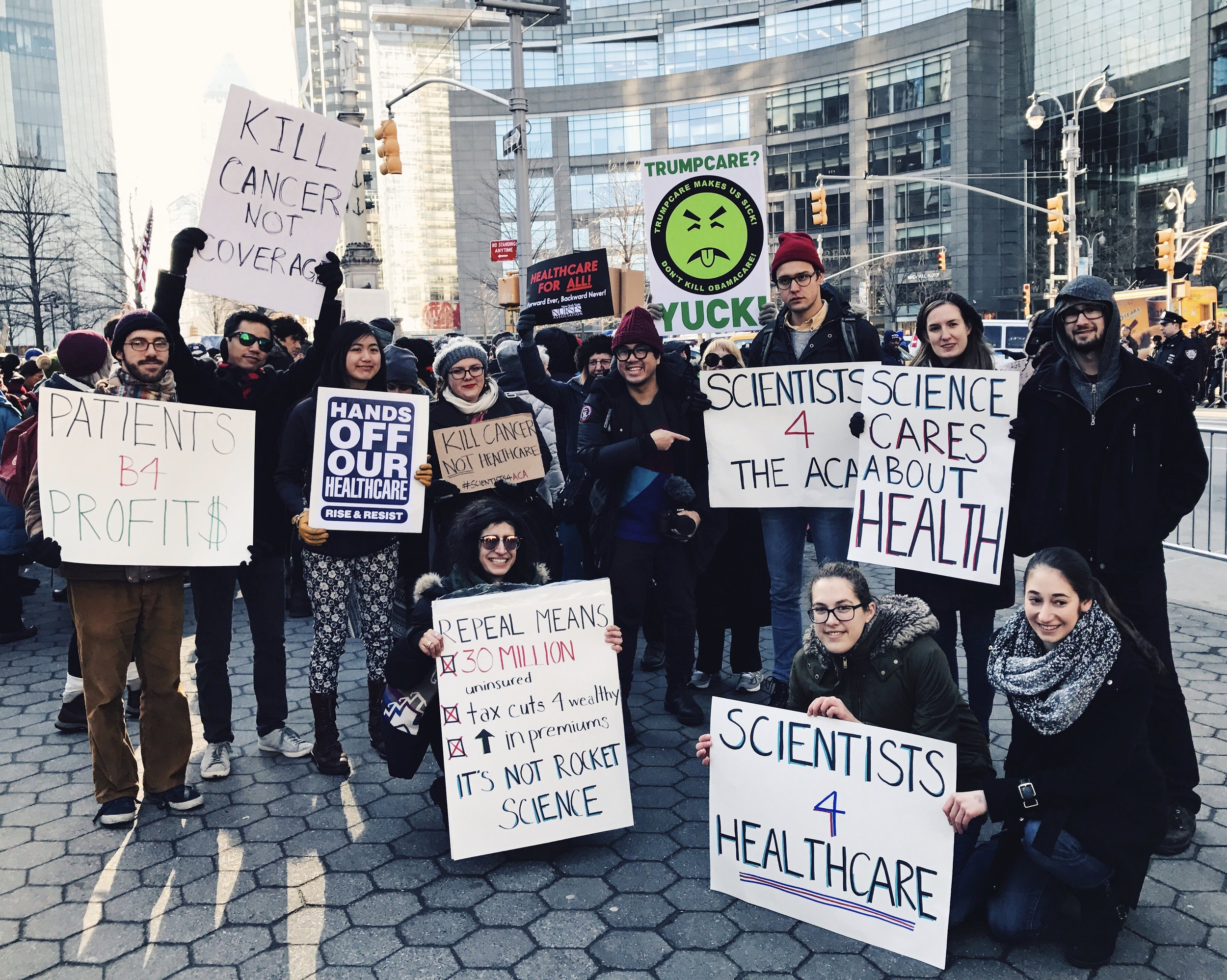 Maryam at a 'Save the ACA' rally in NYC.