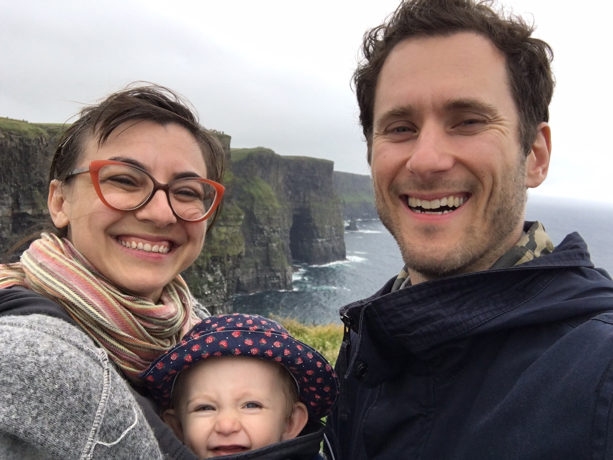 Alicia with her husband and daughter at the Cliffs of Moher, Ireland, this past June where they travelled so she could attend the 10th International Sponge Conference.