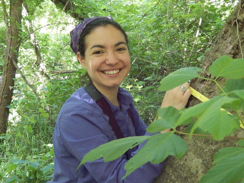 Jewel in 2014, doing undergraduate research at the Trinity River Audubon Center.