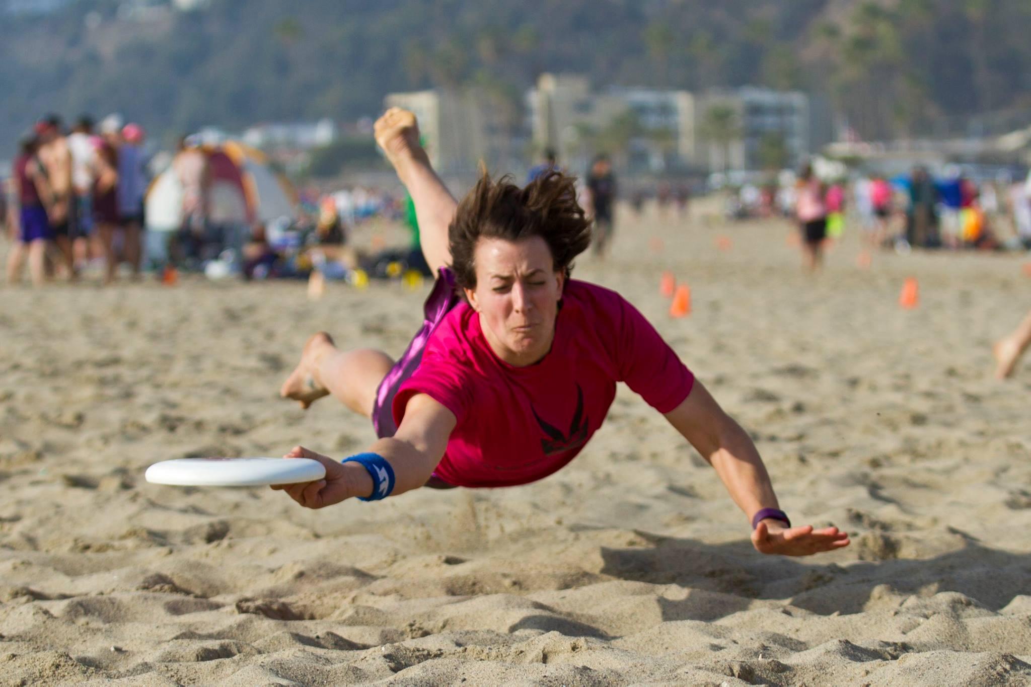 Liz playing ultimate frisbee.