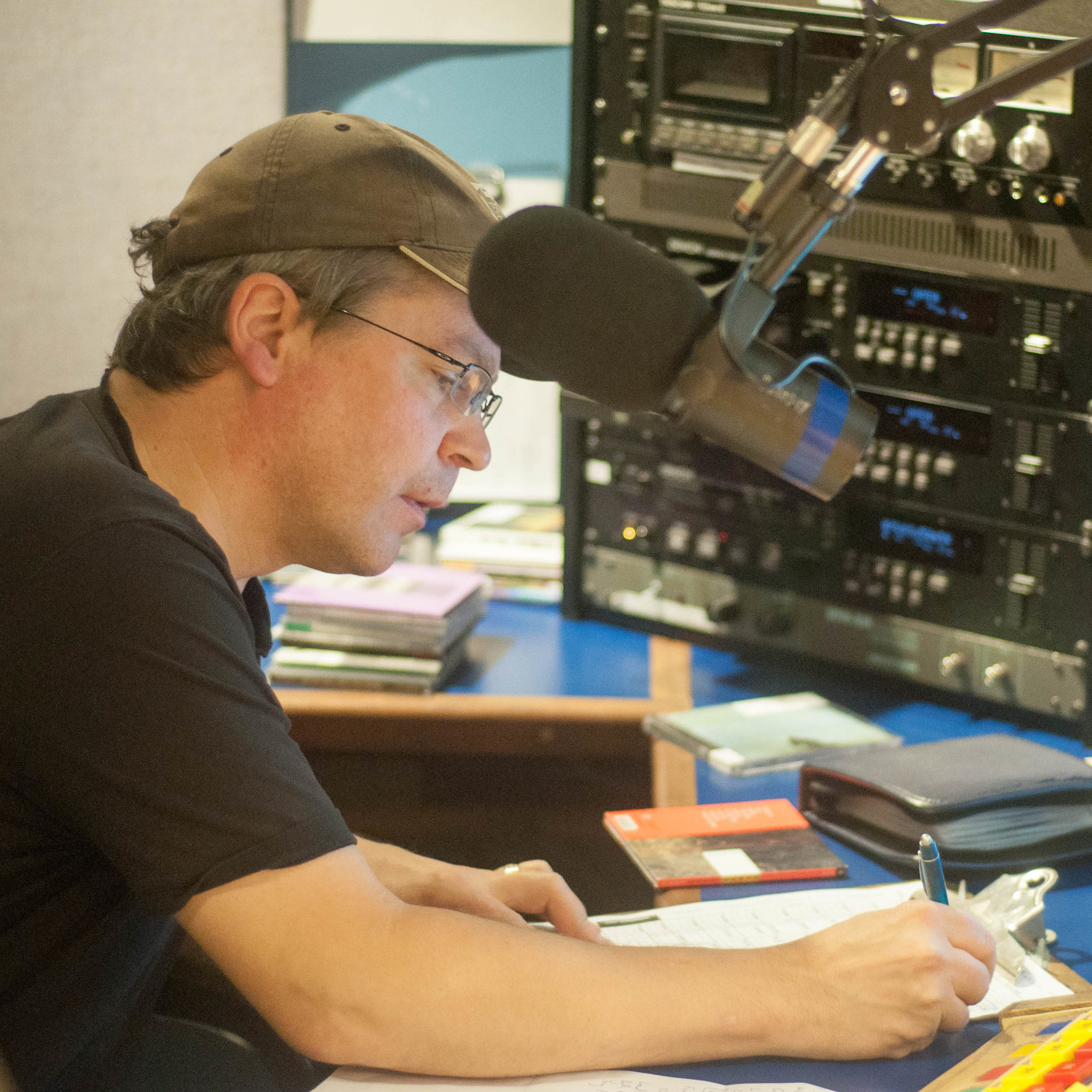 Host Ron Makowichuk at work in the booth.