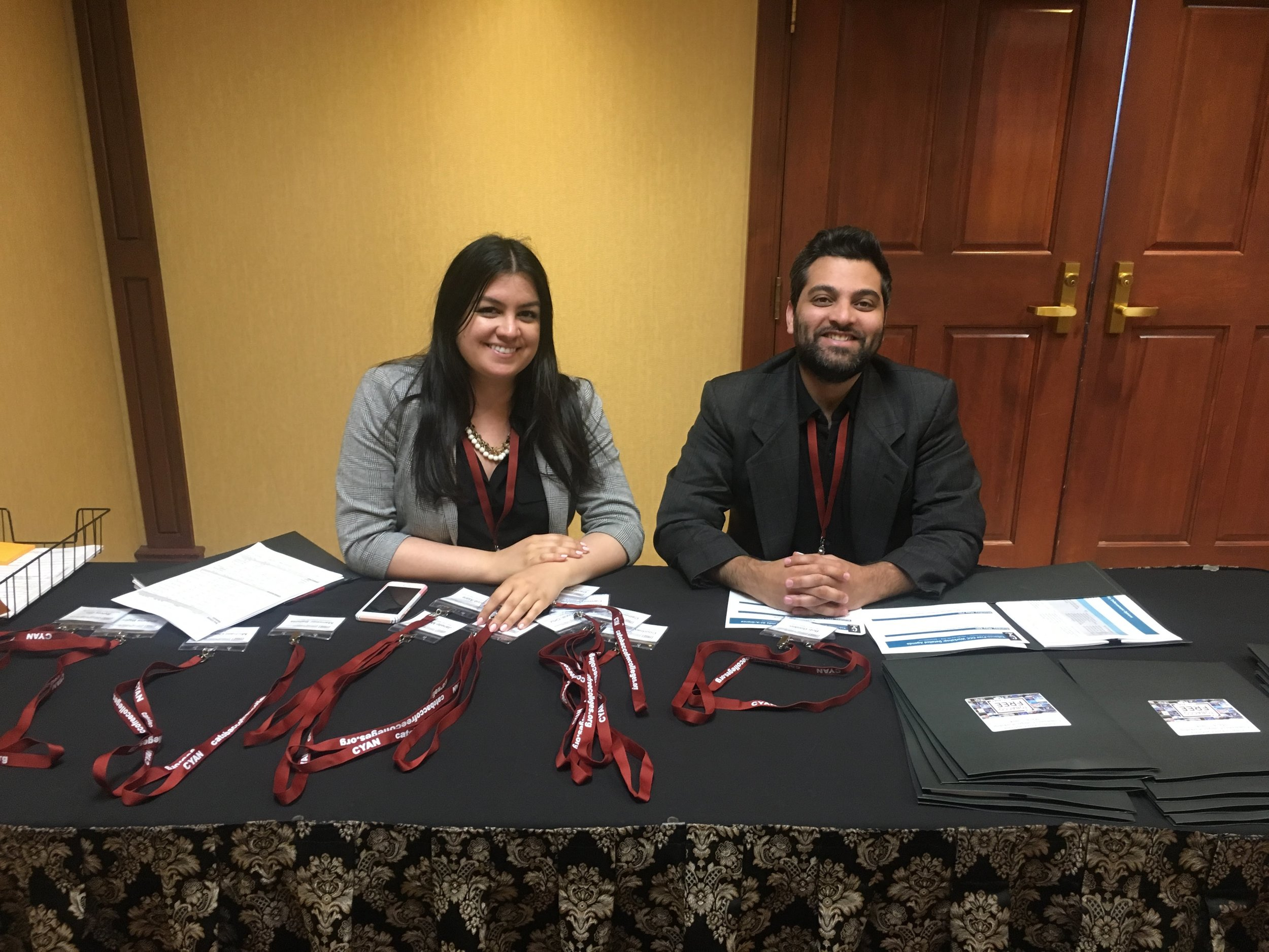 CYAN Staff Pegah and Sal are ready to get you checked in at the 2019 CA Tobacco-Free Colleges Conference!