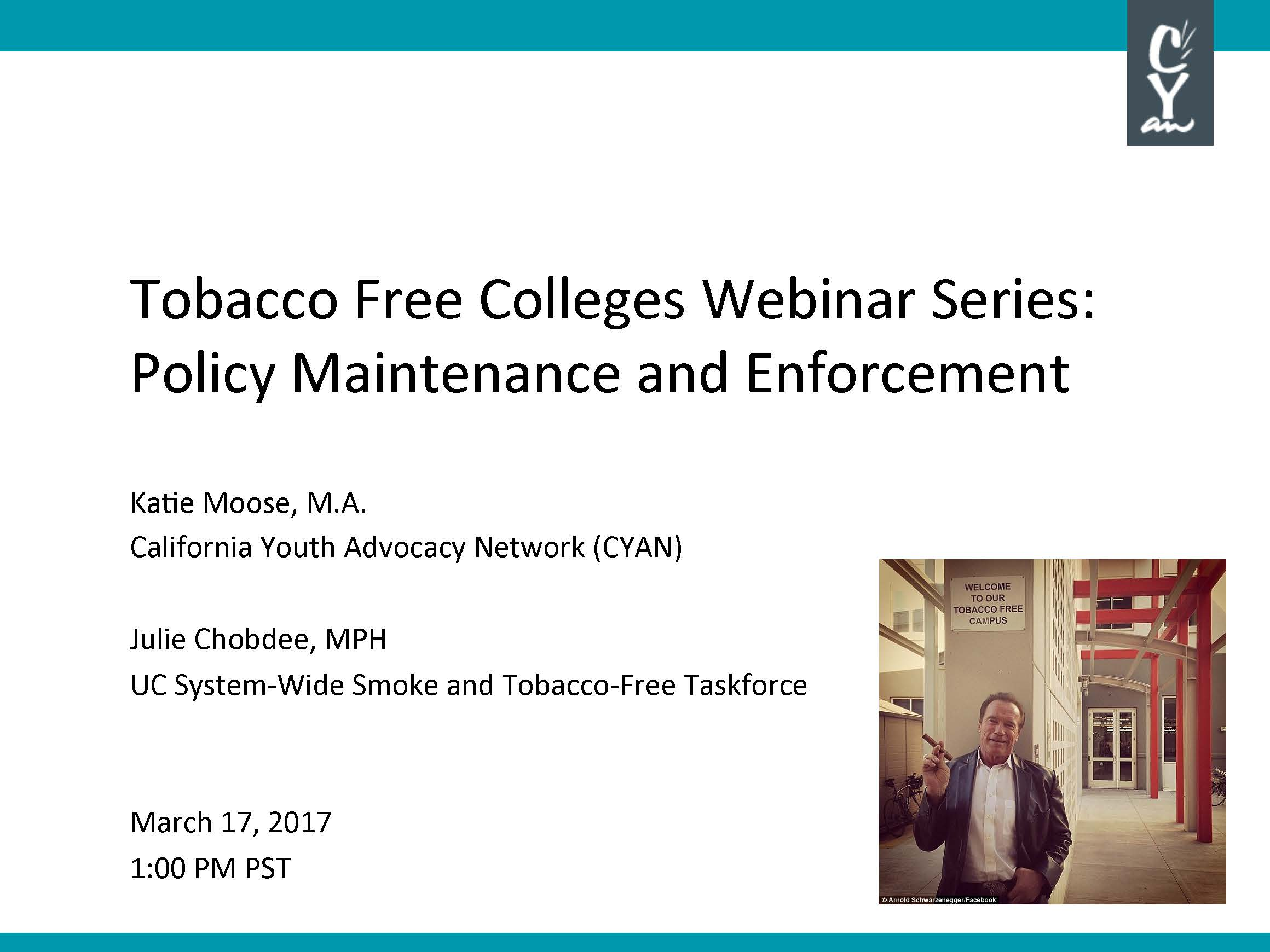 Learn about various enforcement strategies, get answers to your questions about using citations, and learn about policy maintenance strategies that colleges across the state are using to keep their campuses free from tobacco, years after their smoke/tobacco-free policies have gone into effect.