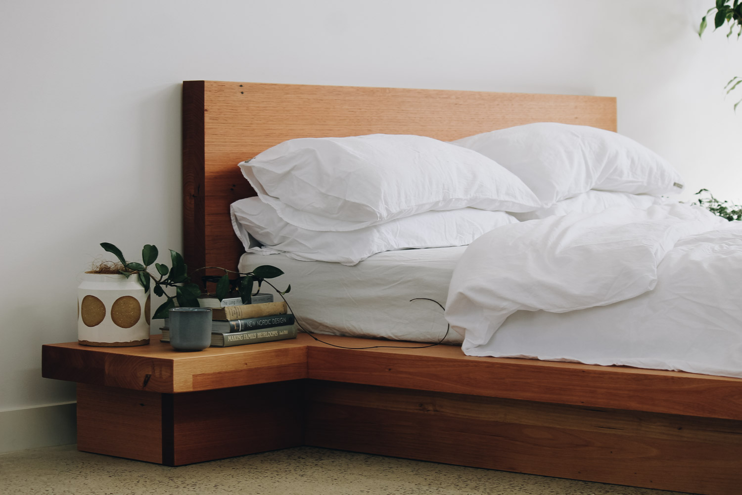 Ledge Bed - Handmade timber bed frame with built in bedside tables