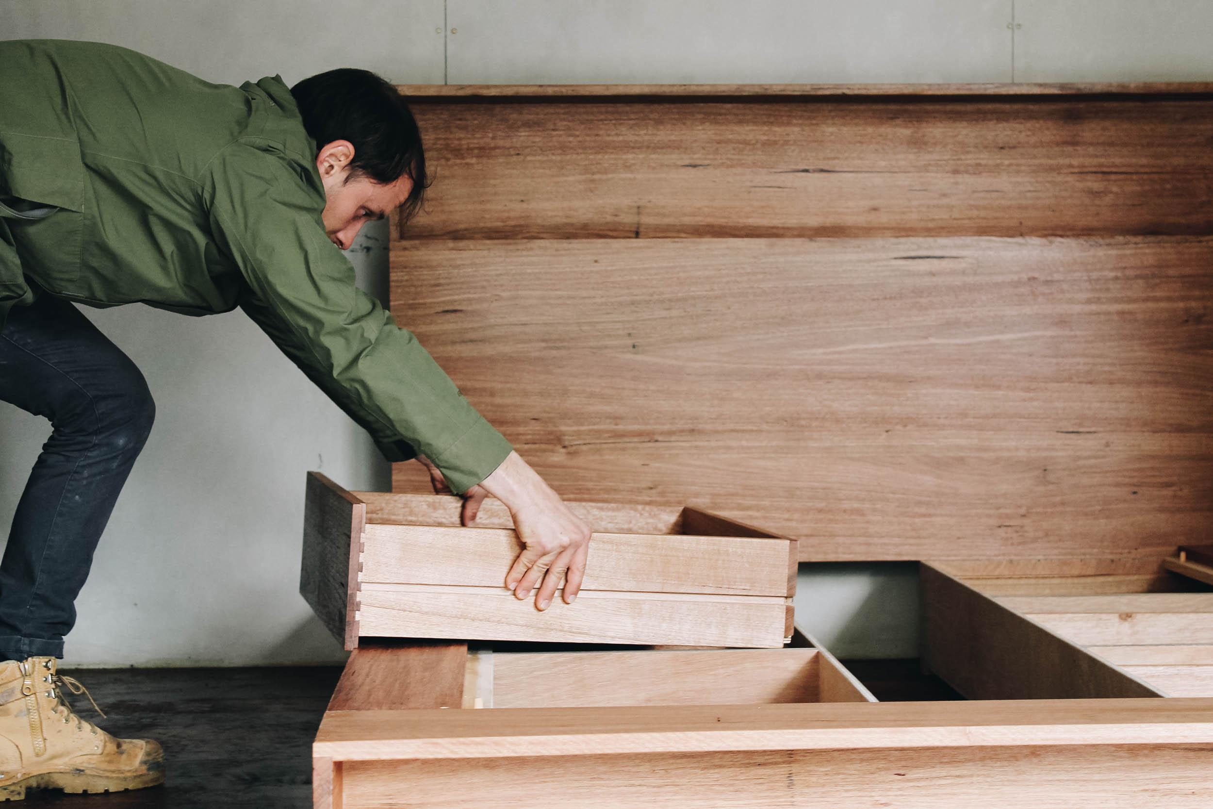 Al and Imo Handmade Bookshelf Drawer Bed Recycled timber - surf coast - melbourne - australia-38.jpg