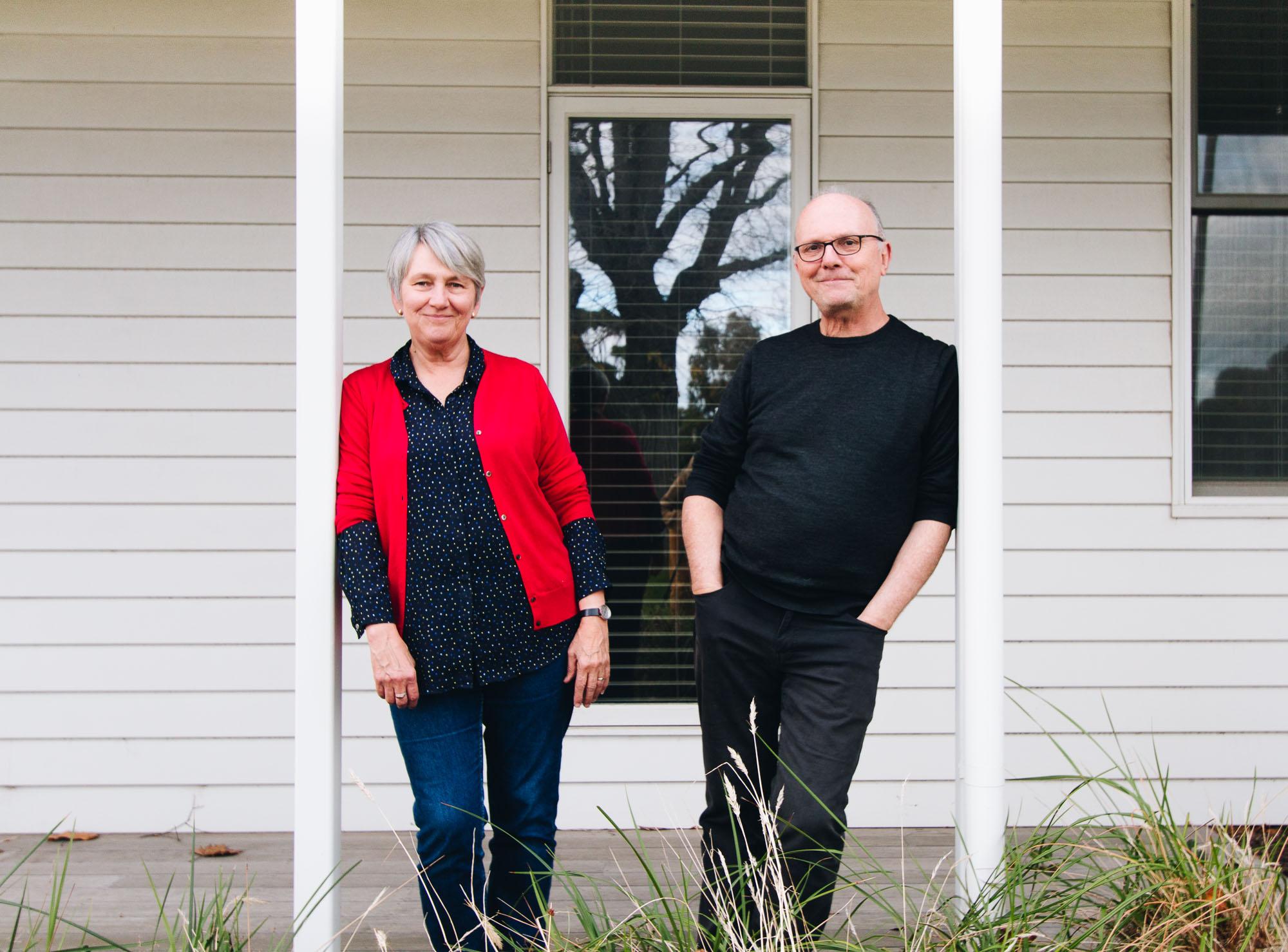 Joan & Richard outside their Williamstown home.