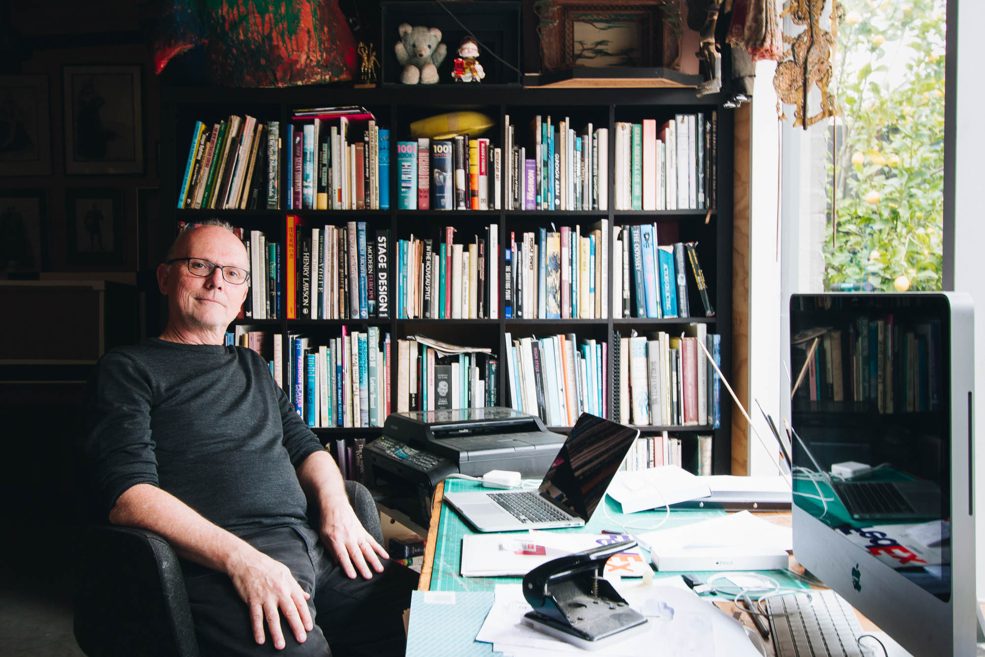 Rick in his purpose-built studio which is seperate to the house and overlooks the garden.