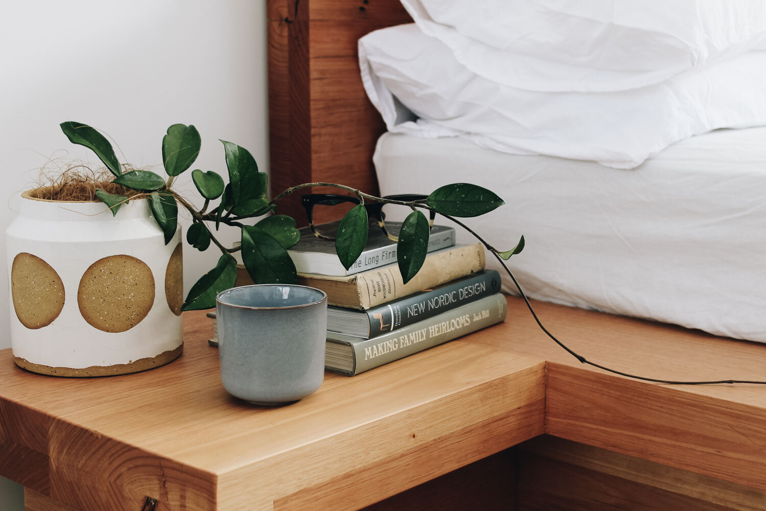 Al and Imo Handmade Ledge Bed platform with build in bedside tables 82