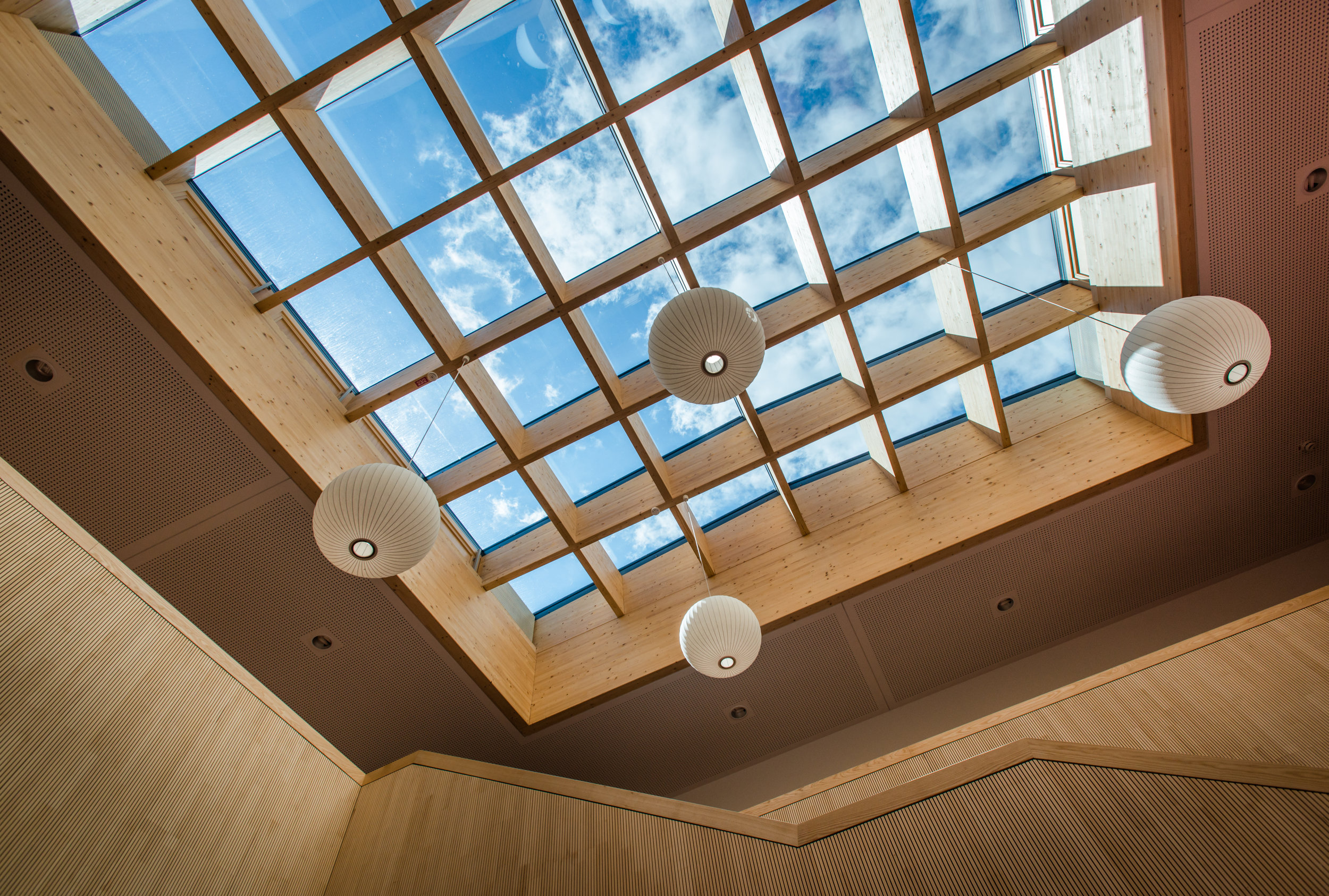 Elementary school library atrium spreads the daylight to make a warm and comfortable learning environment.