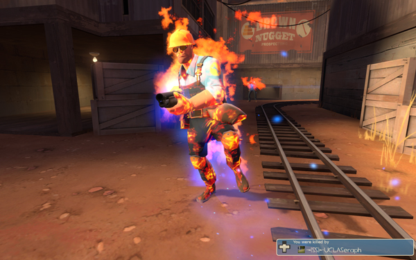 While this picture isn't related to the Sniper update, I think we can appreciate an engineer in mid-burn