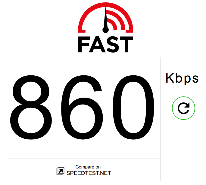 You're reading this one right; it's Kbps, not Mbps. And this is on the faster end.