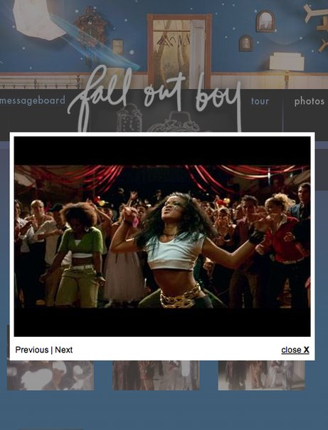 "screenshot of Di from Fall Out Boy's award-winning music video ""Dance Dance"" on falloutboy.com"