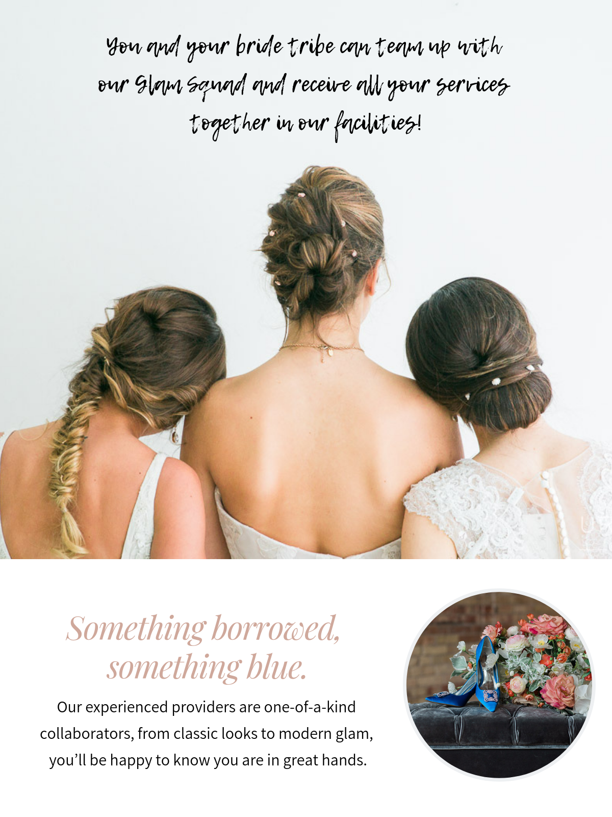 when you and your bride tribe team up with our glam squad and receive all your services together in our facilities!