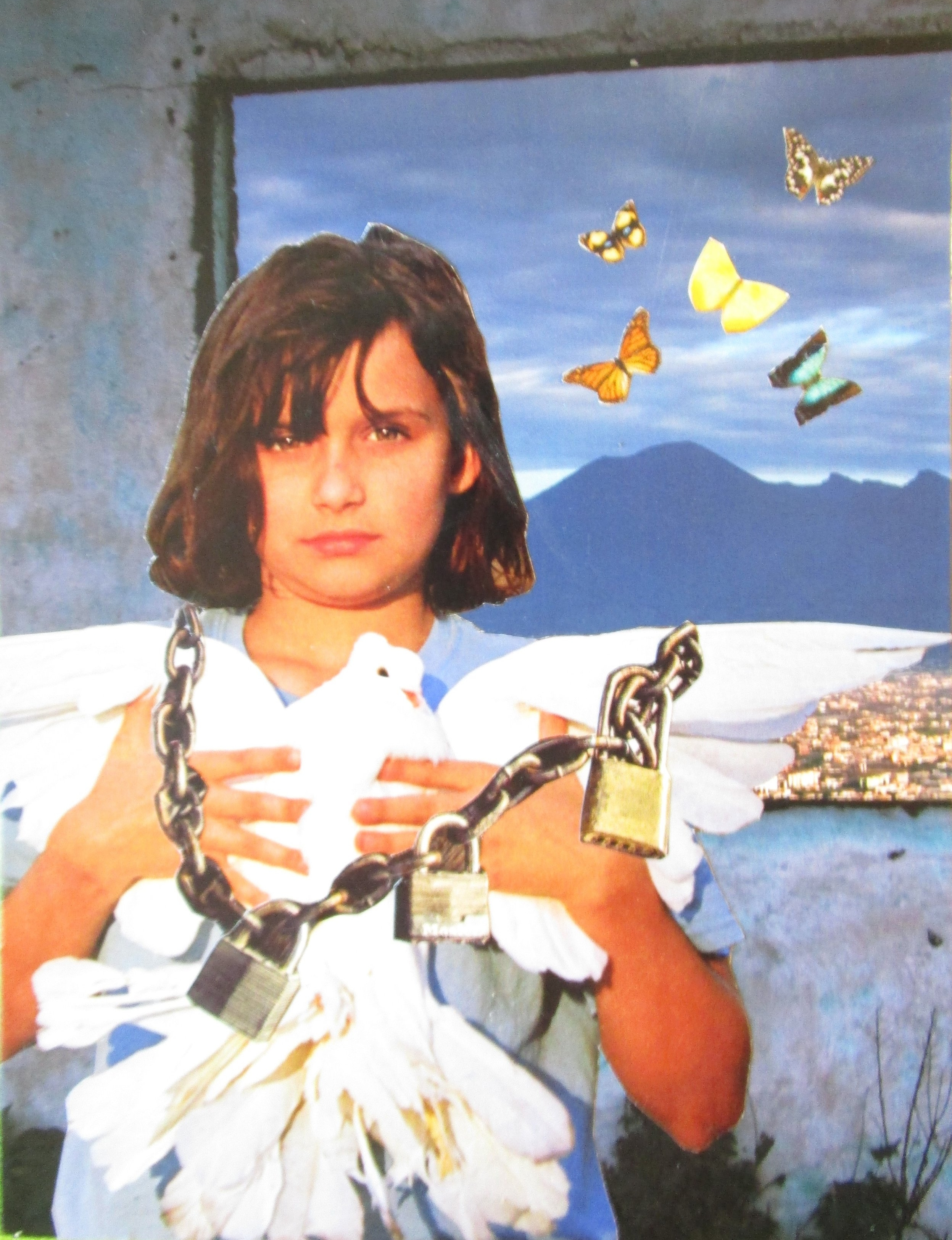 """SoulCollage Card:  Immunity to Change . """"I am one who keeps you chained in order to protect you from the dangers of flight."""""""