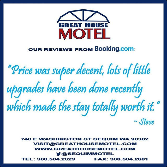At #GreatHouseMotel, we know it's about the little things. Book your next stay in #Sequim with us.  Special thanks to Steve for our review on #Bookingdotcom. #travel #motel  WWW.GREATHOUSEMOTEL.COM
