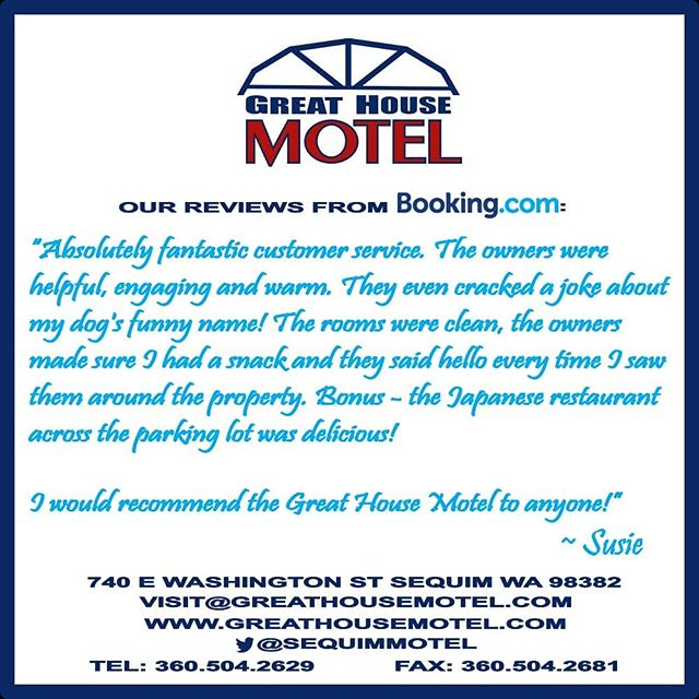 #Laughter is always the best medicine after a potentially long drive. Thank you Susie for choosing to stay and laugh with us at #GreatHouseMotel!  Stay with us via #bookingdotcom #motel #travel #Sequim #SequimWa #Washington #hospitality #warm #cosy #HomeAwayFromHome #quality #momandpop