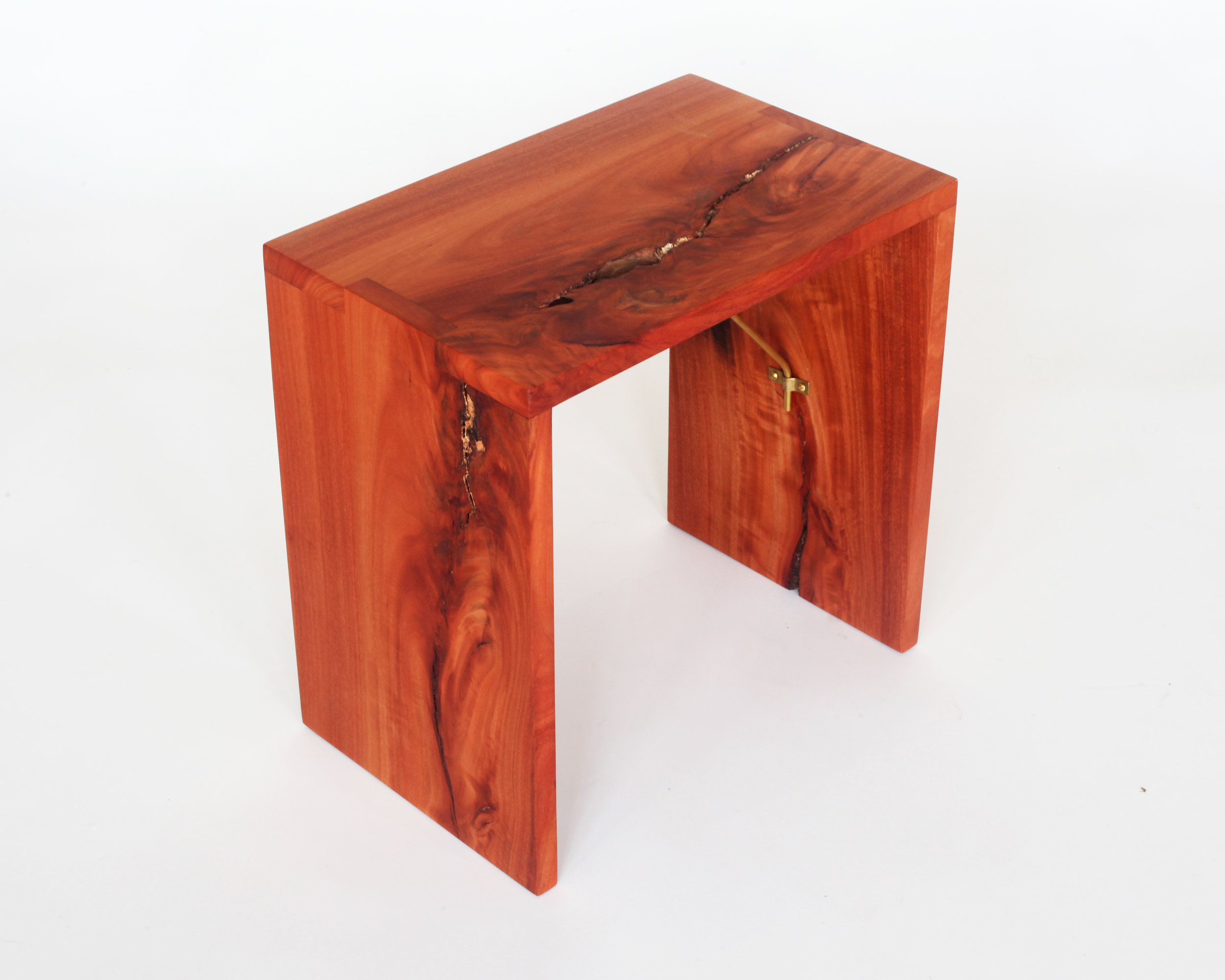Small bench-  Red ironbark eucalyptus, brass