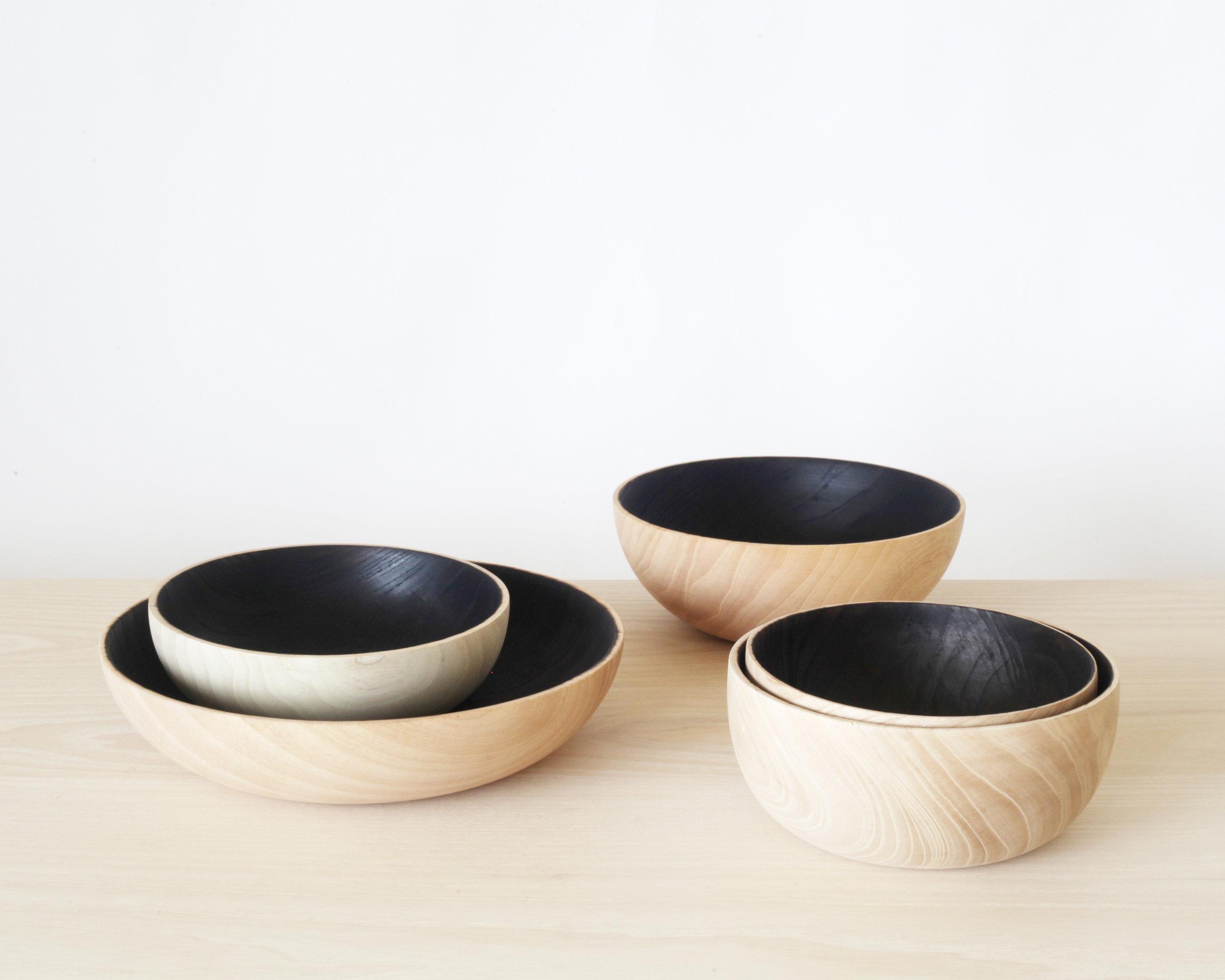 Burnout bowls-  Bleached/ charred Modesto ash