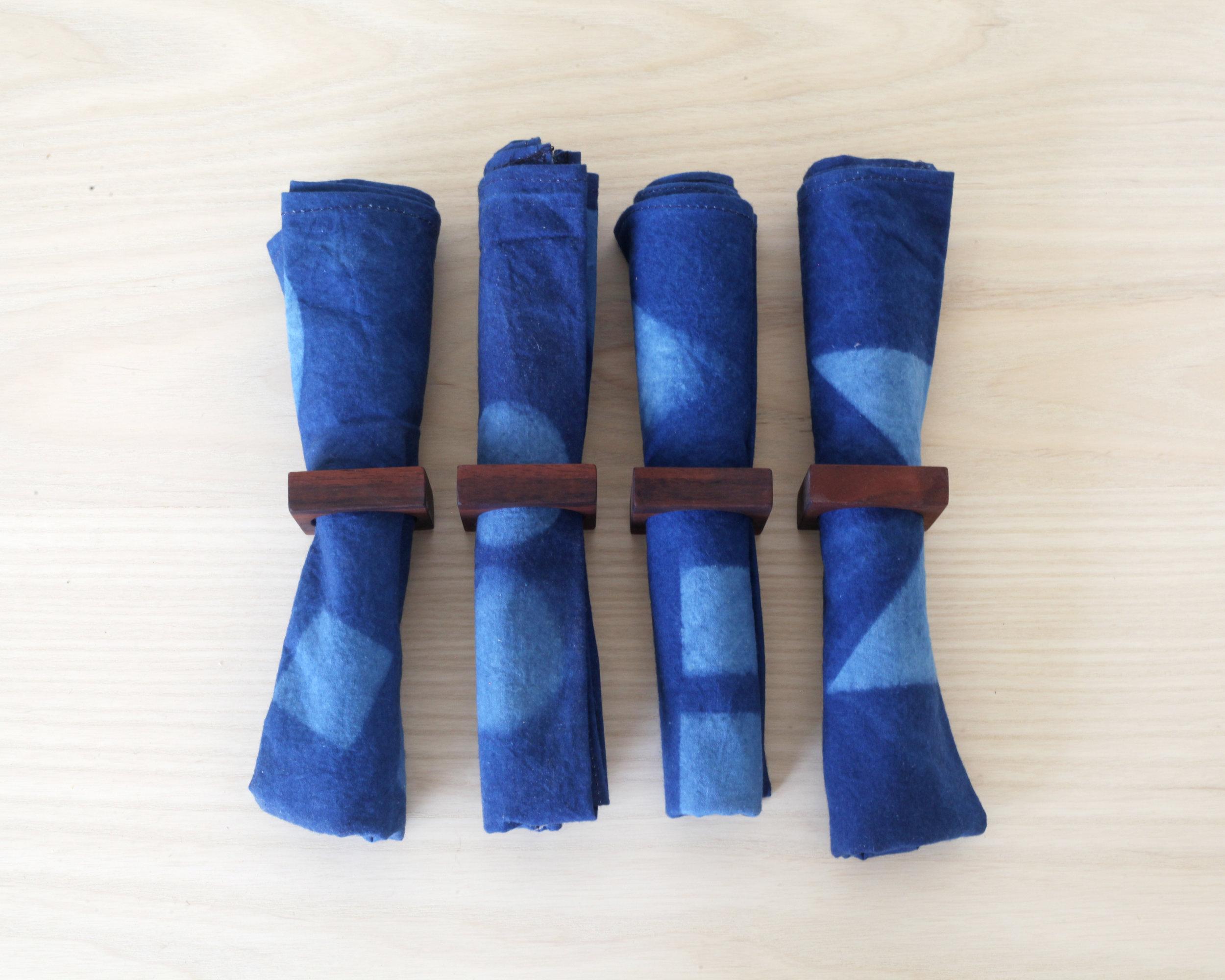 Napkin rings- Claro walnut  Indigo napkins by Emily Gui