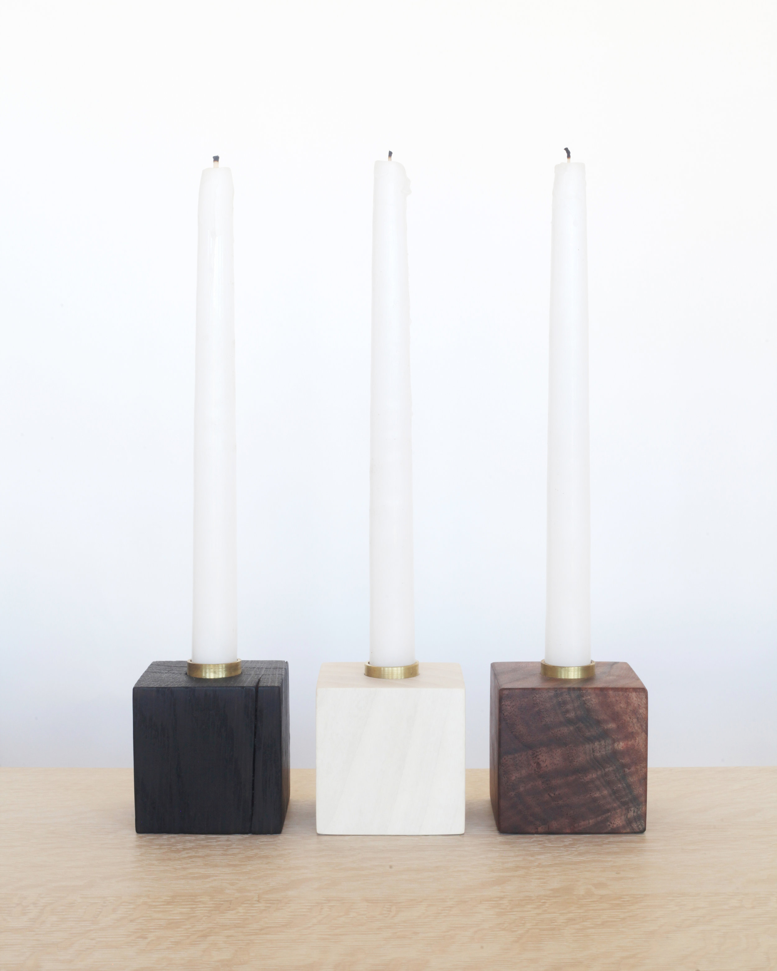 candle holders-  charred oak, bleached ash, natural walnut