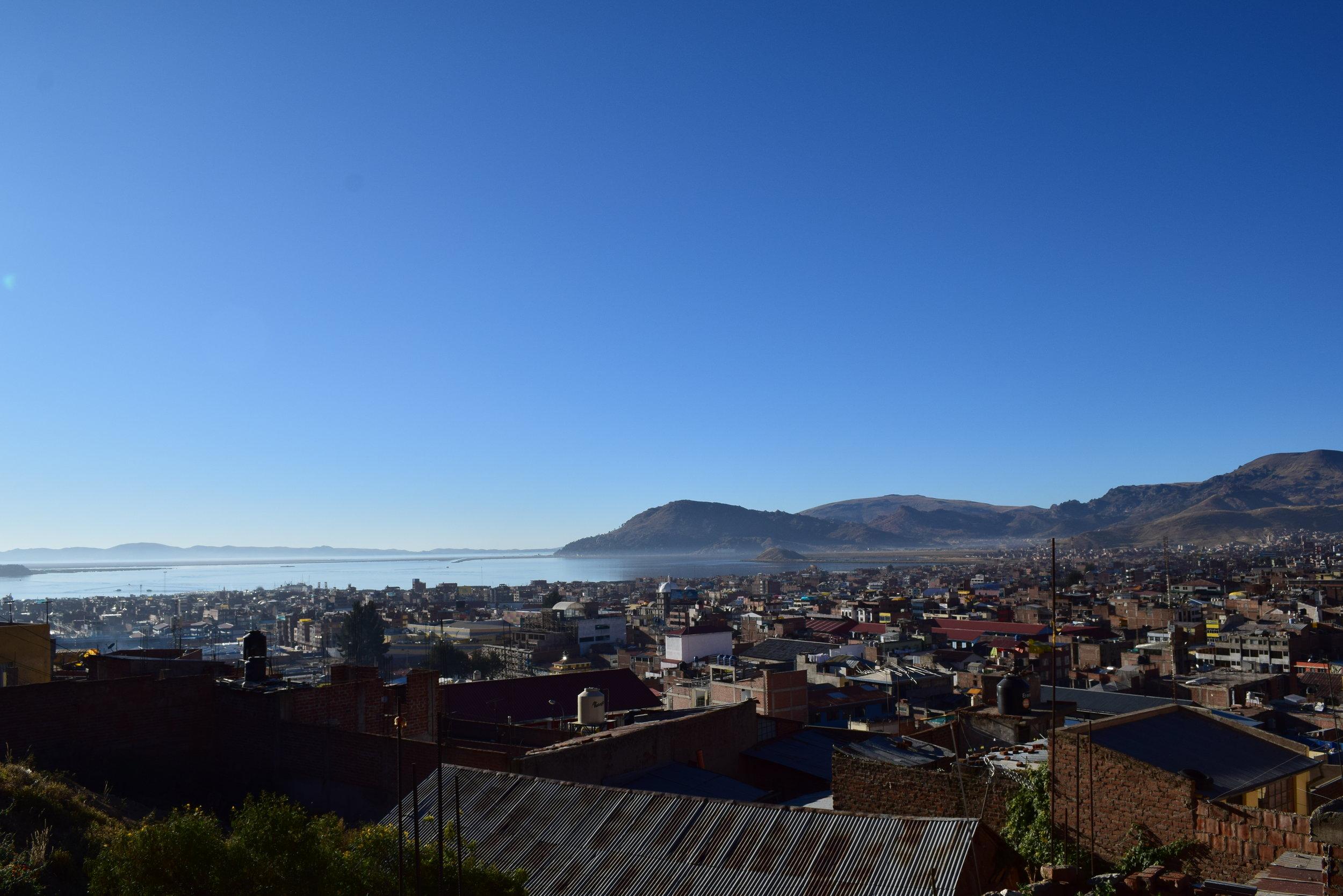 Puno, Peru on the shore of Lake Titicaca.