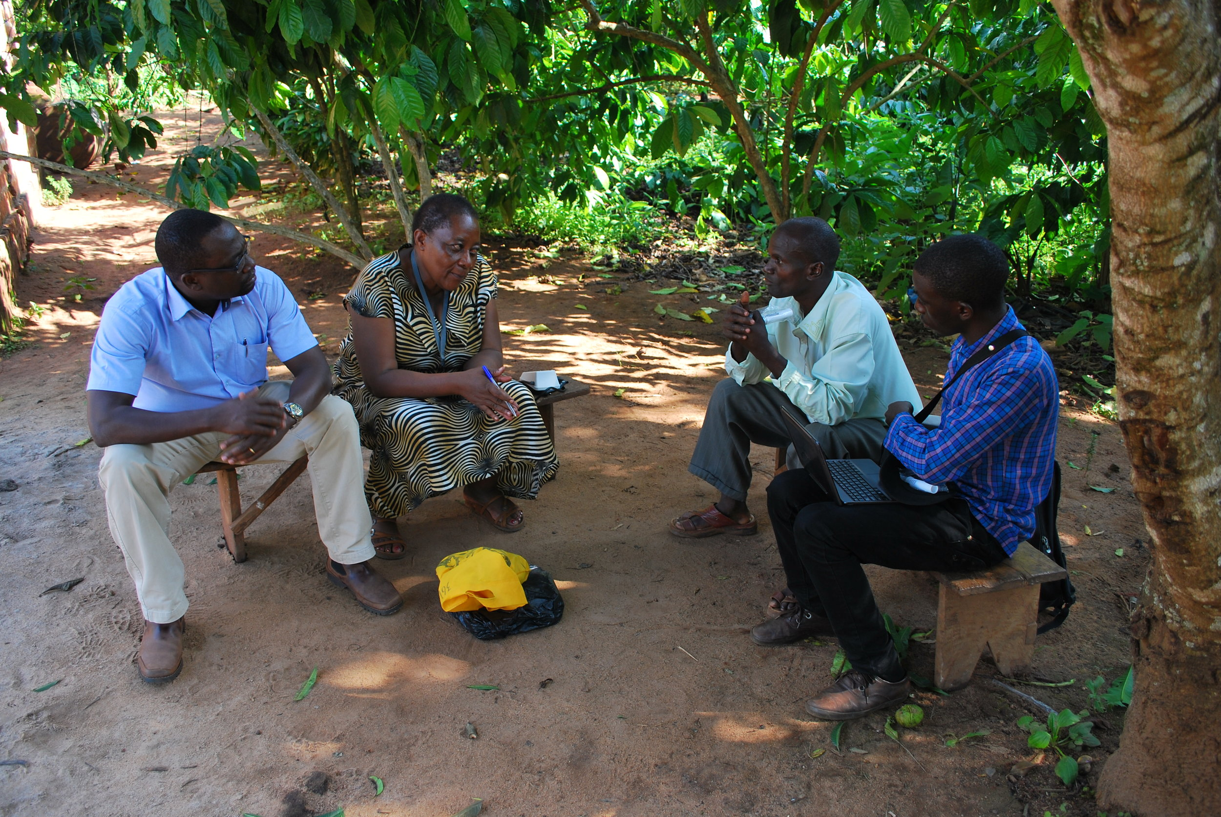 Taking participant medical history for a research study in Nakaseke.