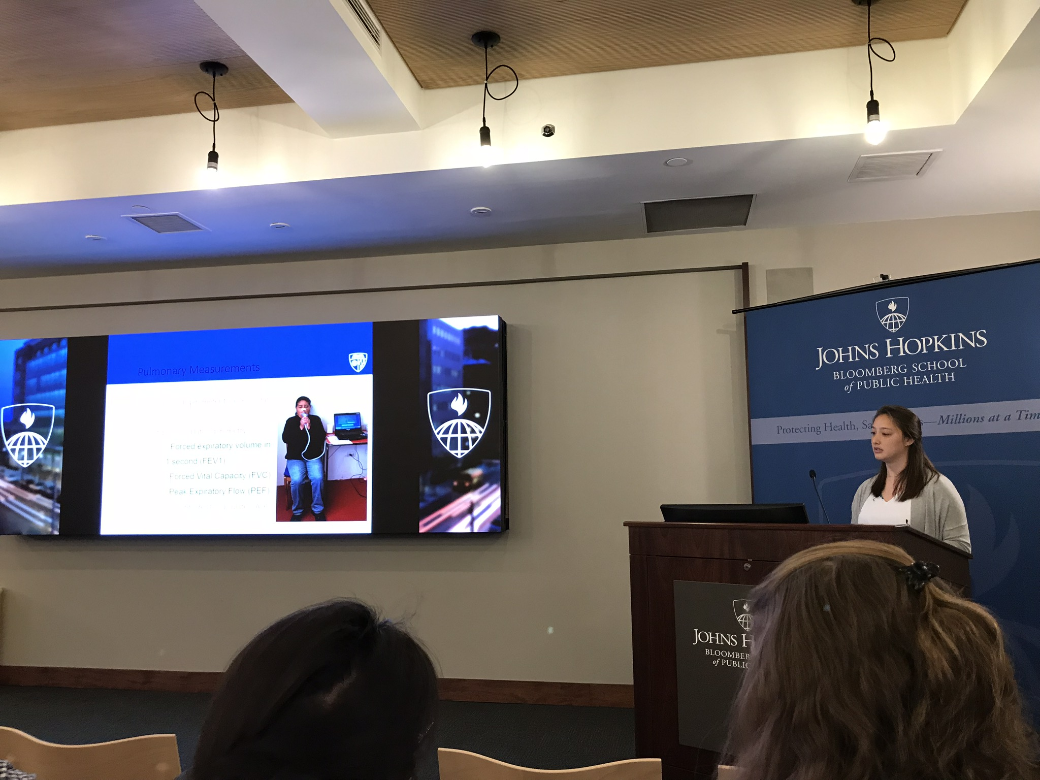 Elizabeth Fung, an analyst at GNCD who earned her MSPH in International Health from JHU after interning with Global NCD in Peru, describes some of the pulmonary outcome measures that CHAP collects during the study.