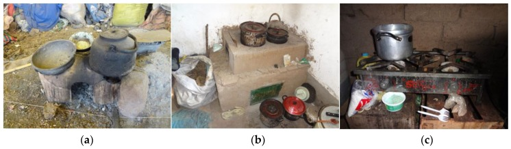 ( a ) Traditional, open-fire, biomass burning stove ( fogón ); ( b ) Locally improved, biomass burning stove (with a chimney on the building's exterior); ( c ) Liquefied Petroleum Gas (LPG) stove.