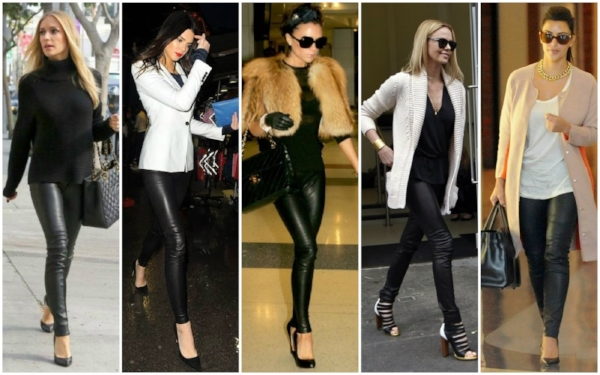 5 different looks, all featuring leggings, that look fab. You could swap any of the heels for flats or tall boots or sneakers and STILL look fab.