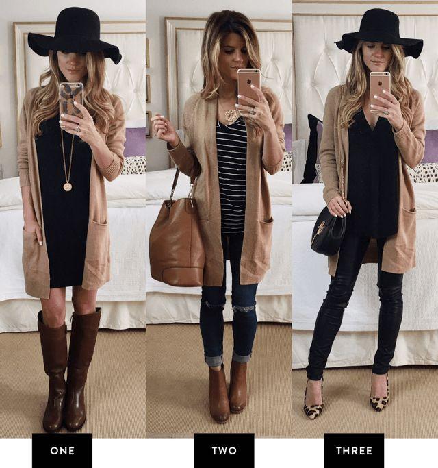 3 ways to style a camel cardigan / Blogger: Brighton Keller, brightontheday.com